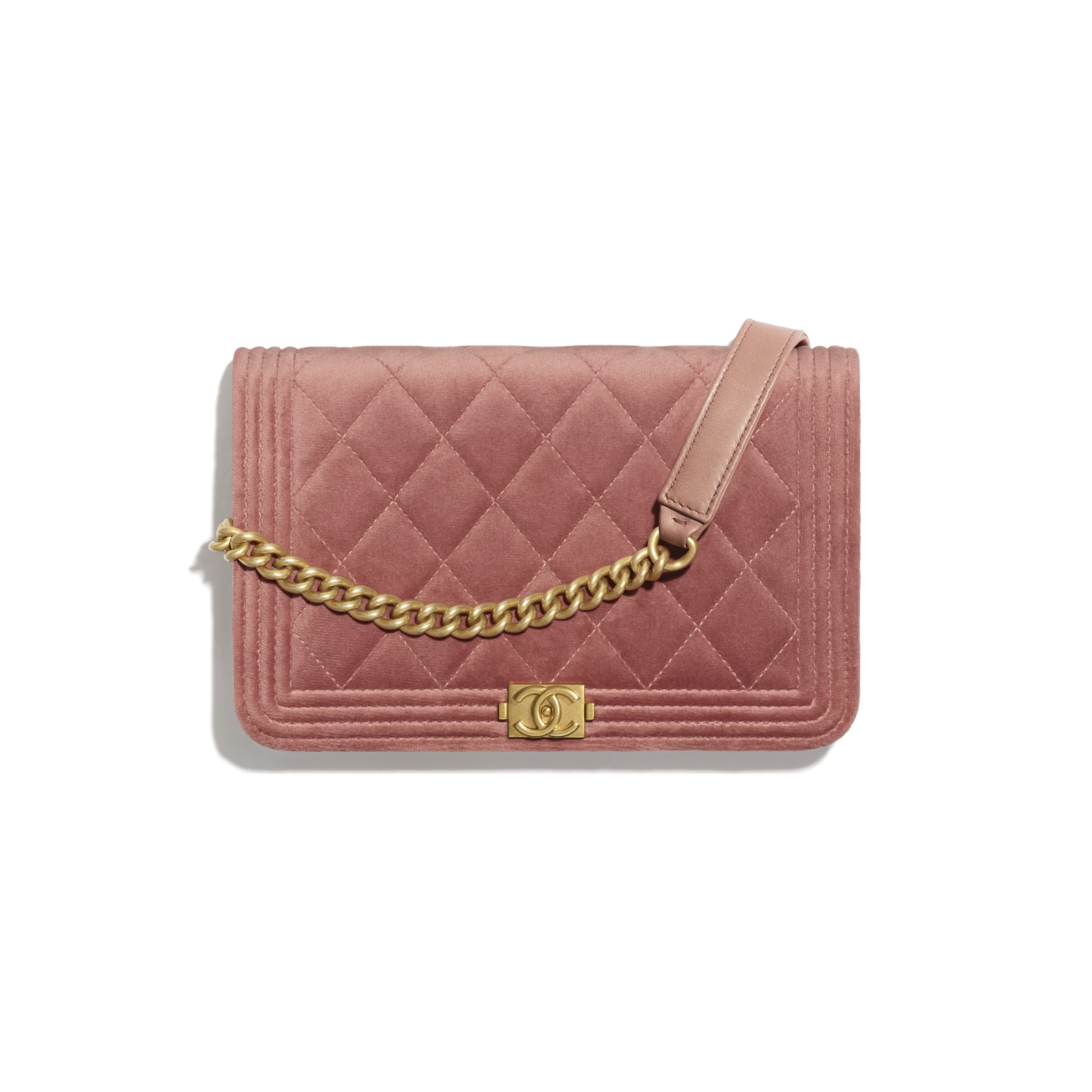 BOY CHANEL Wallet On Chain - Pink - Velvet & Gold Metal - CHANEL - Default view - see standard sized version