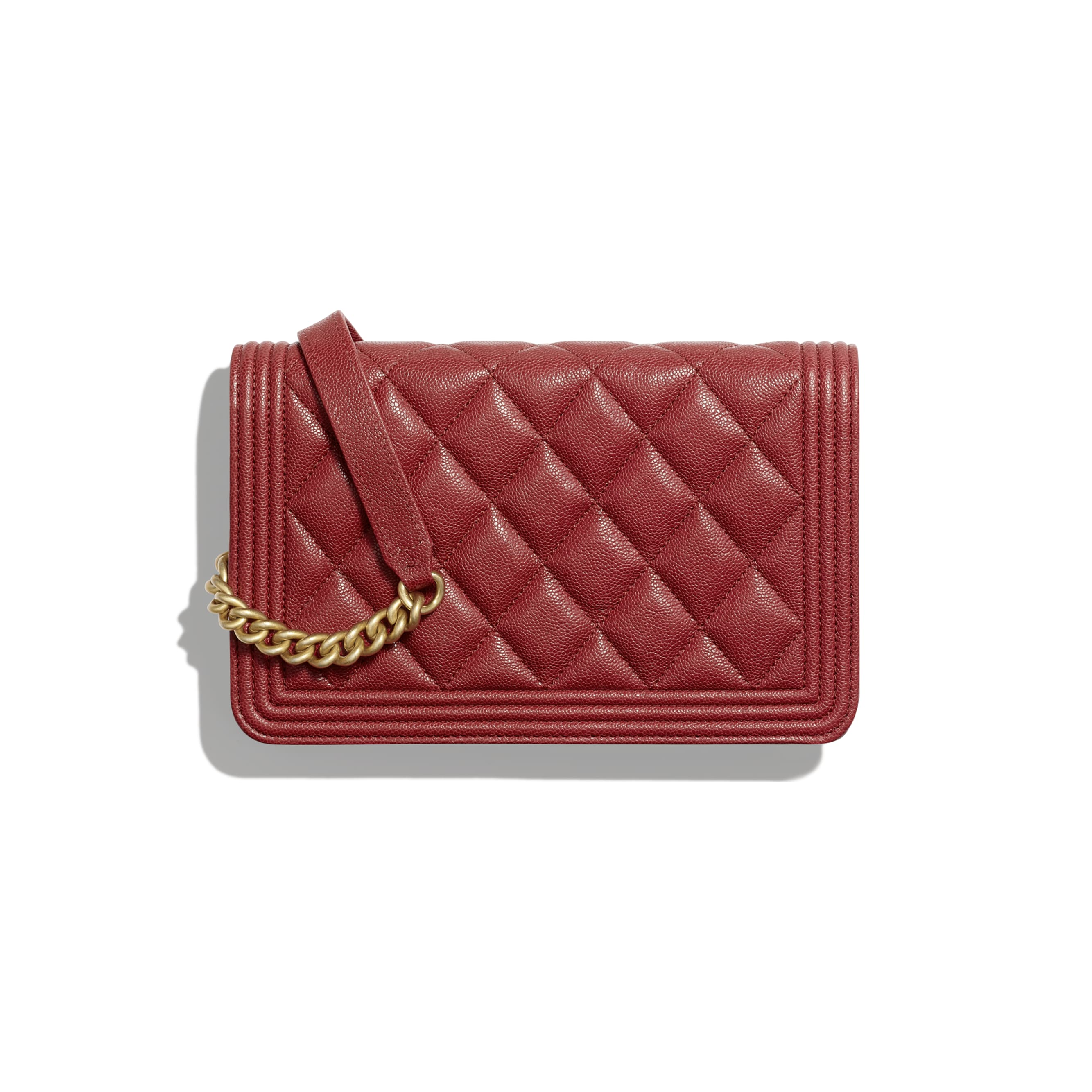 BOY CHANEL Wallet on Chain - Red - Grained Calfskin & Gold-Tone Metal - Alternative view - see standard sized version
