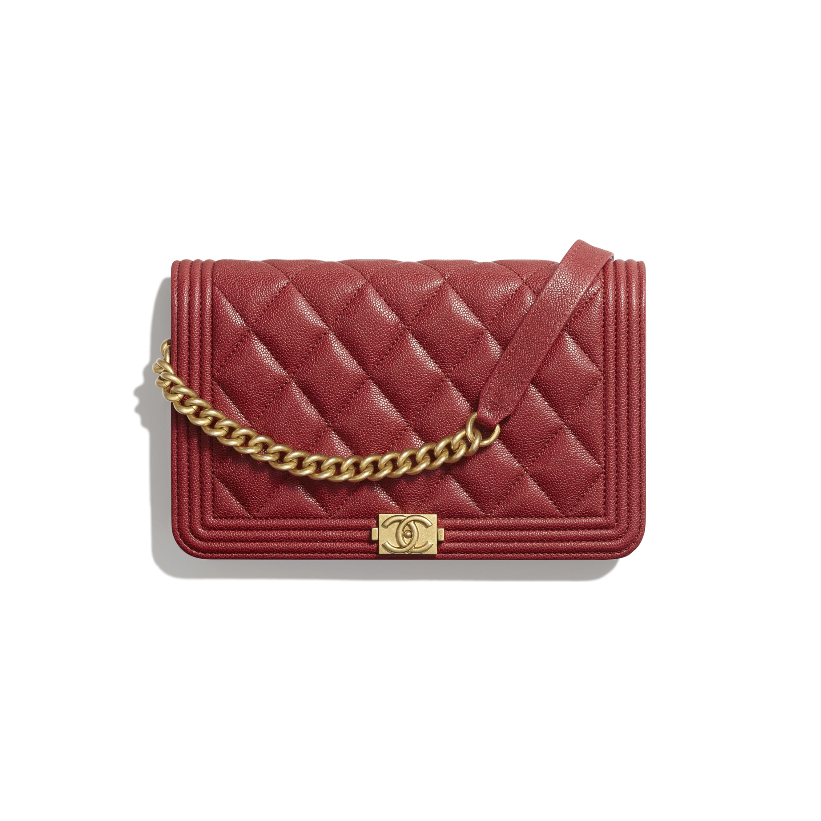 BOY CHANEL Wallet on Chain - Red - Grained Calfskin & Gold-Tone Metal - Default view - see standard sized version