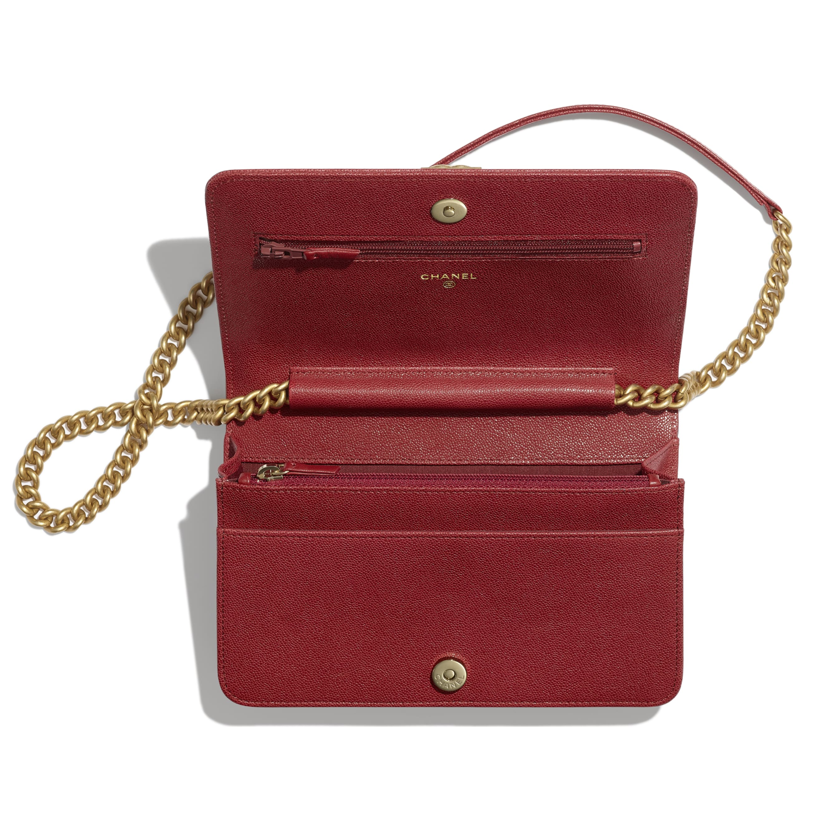 BOY CHANEL Wallet on Chain - Red - Grained Calfskin & Gold-Tone Metal - Other view - see standard sized version