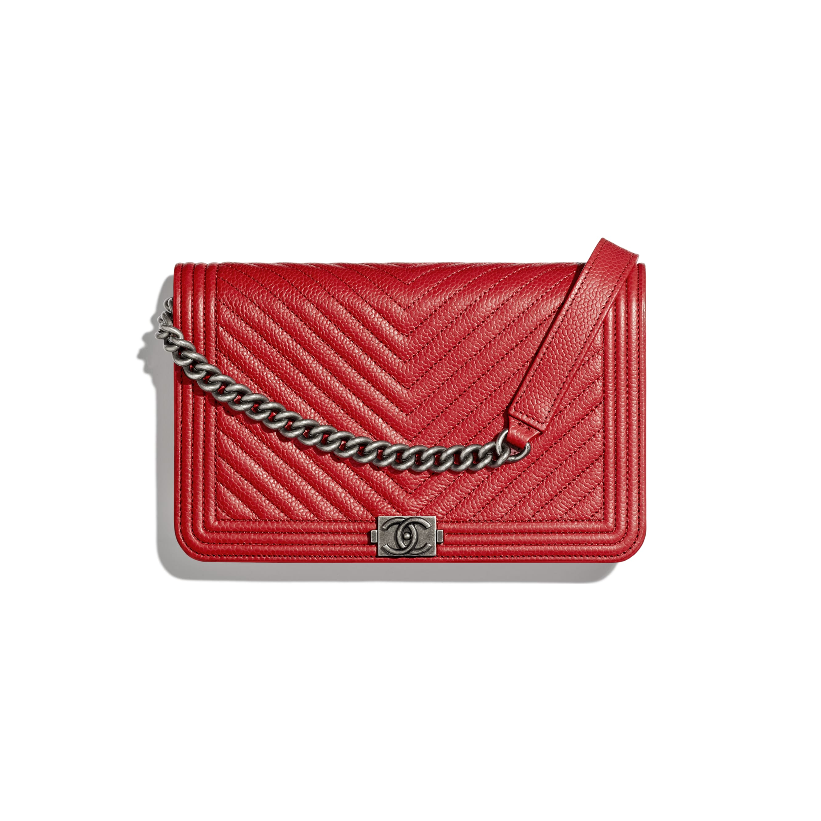 BOY CHANEL Wallet On Chain - Red - Grained Calfskin & Ruthenium-Finish Metal - CHANEL - Default view - see standard sized version