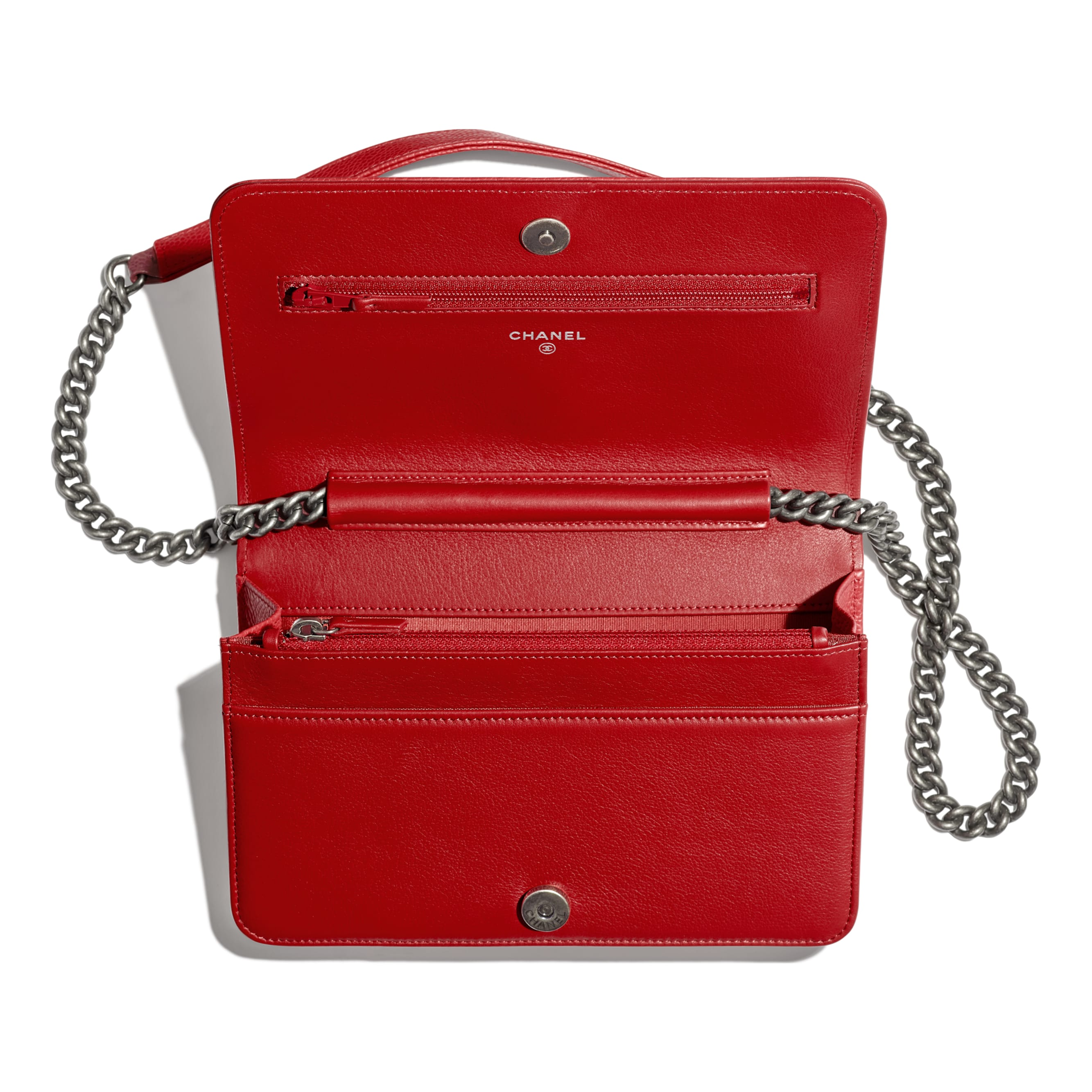 BOY CHANEL Wallet On Chain - Red - Grained Calfskin & Ruthenium-Finish Metal - CHANEL - Other view - see standard sized version