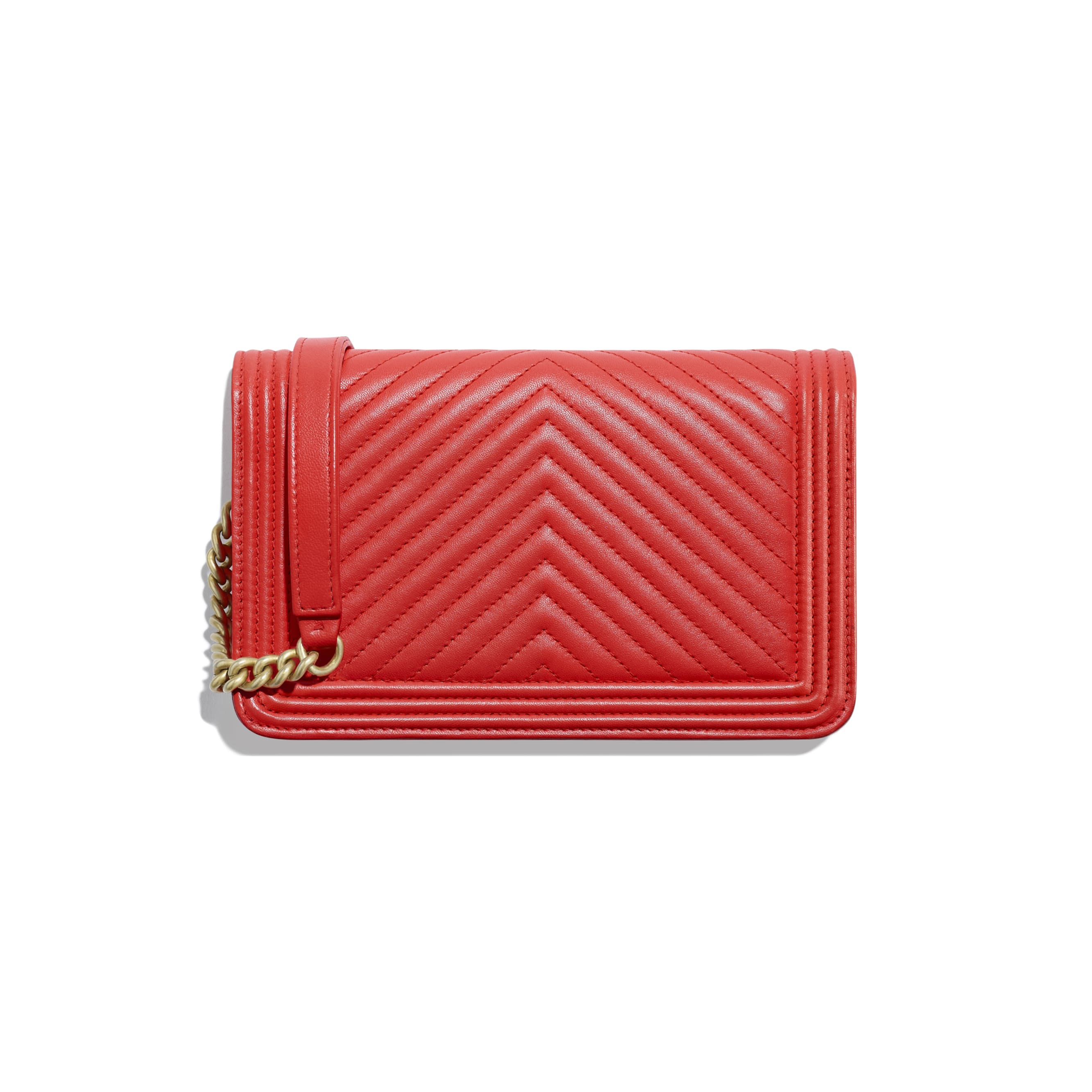 BOY CHANEL Wallet On Chain - Red - Lambskin - CHANEL - Alternative view - see standard sized version