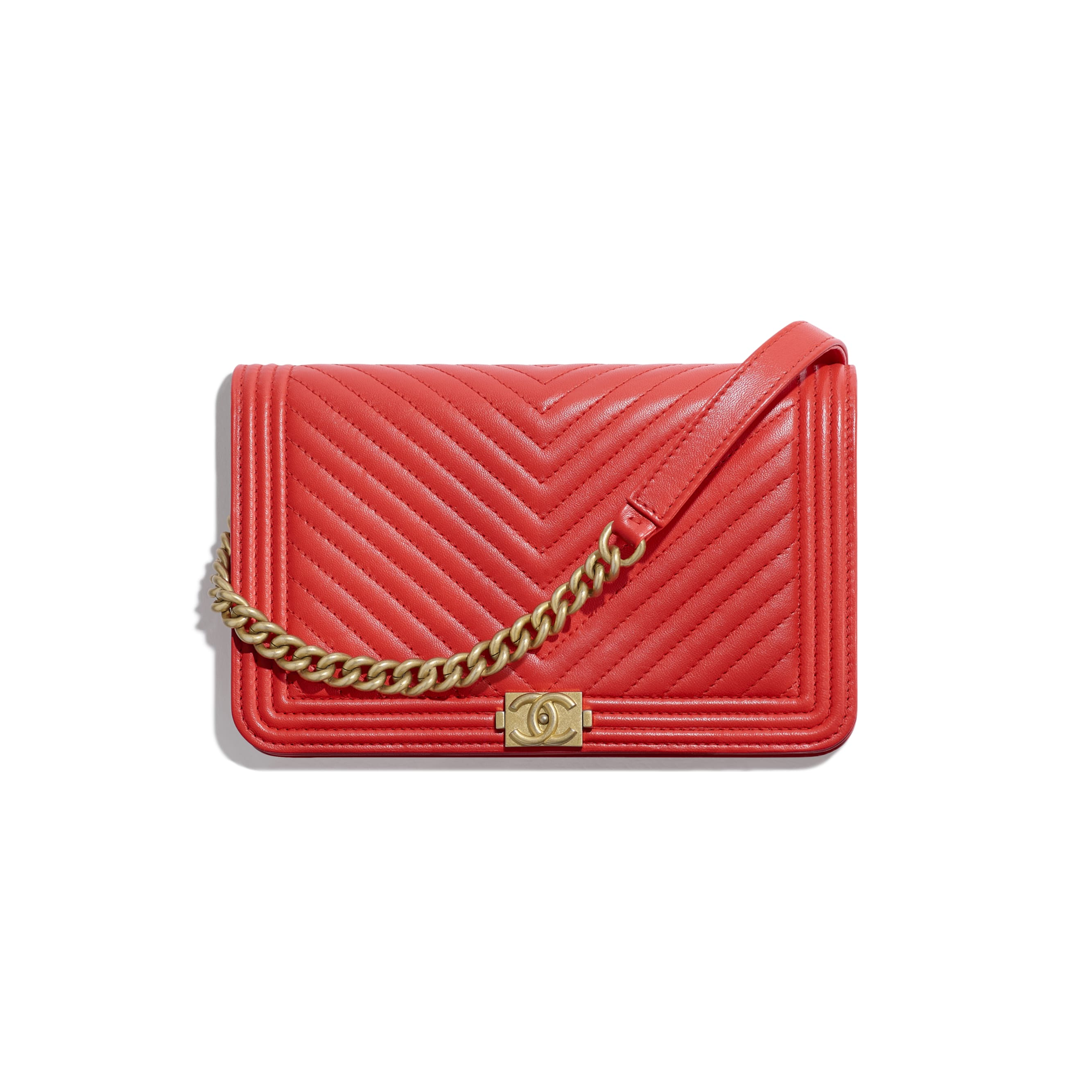 BOY CHANEL Wallet On Chain - Red - Lambskin - CHANEL - Default view - see standard sized version