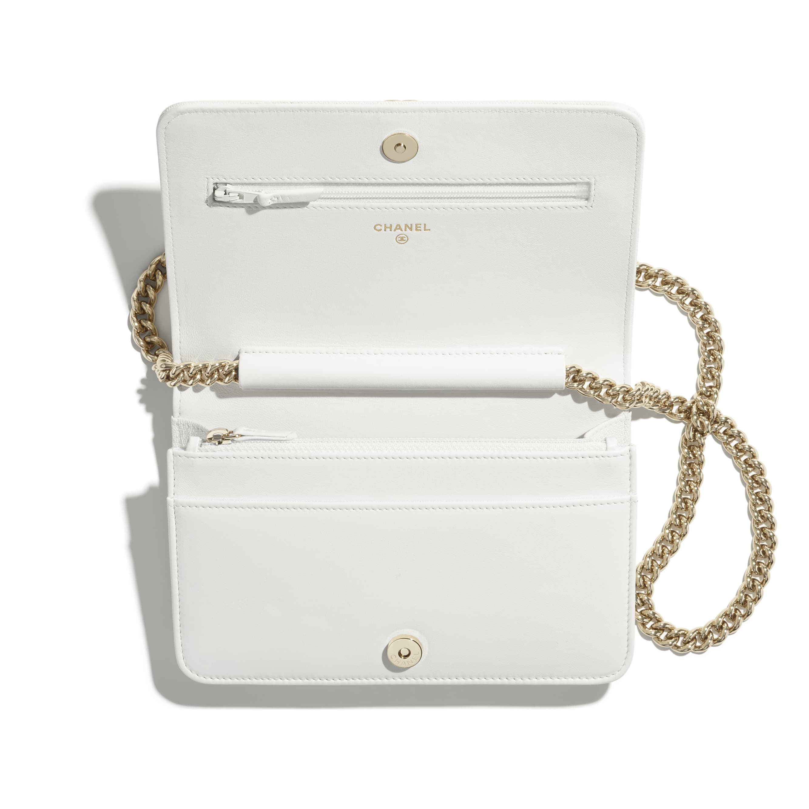 BOY CHANEL Wallet On Chain - White - Grained Calfskin & Gold-Tone Metal - CHANEL - Alternative view - see standard sized version