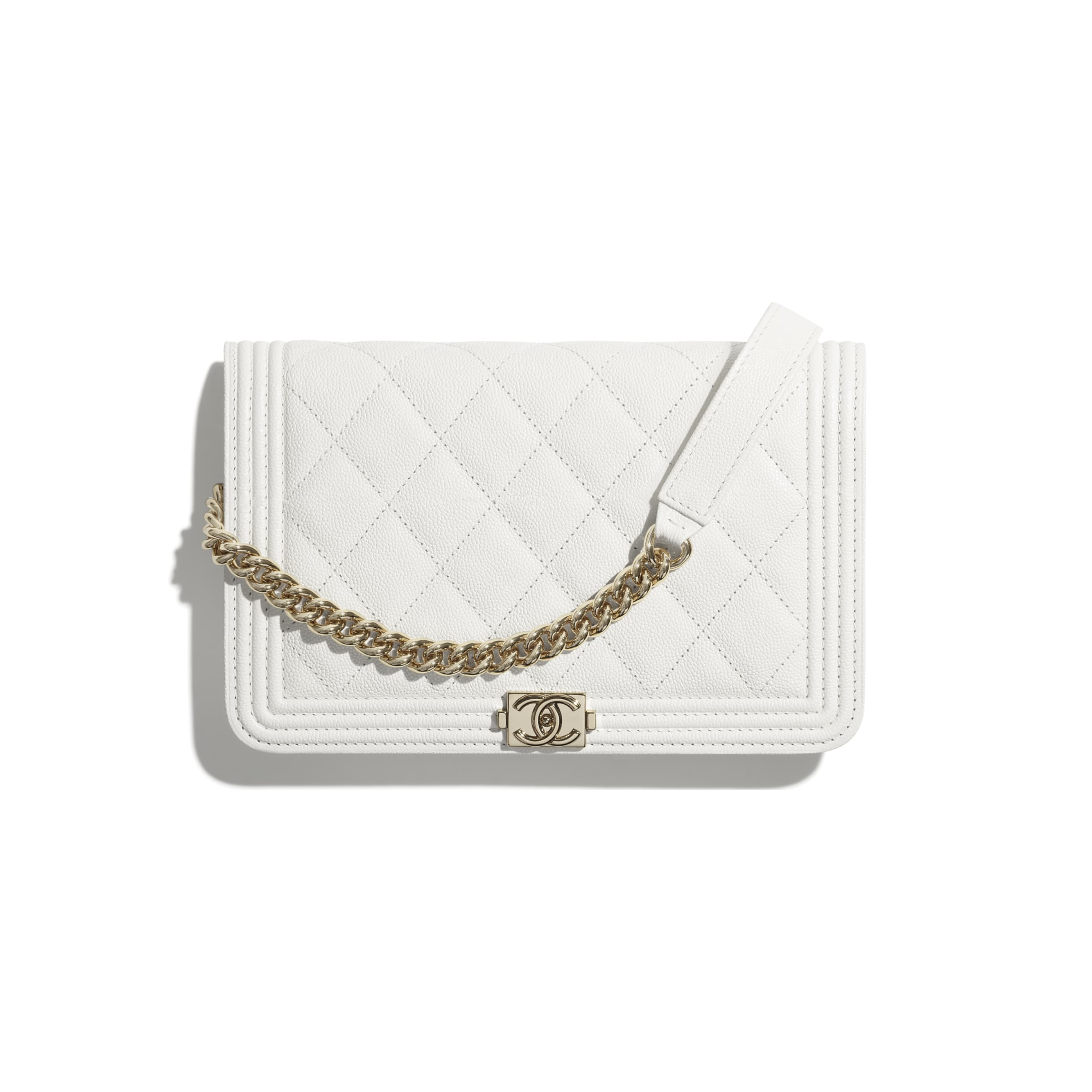 BOY CHANEL Wallet On Chain - White - Grained Calfskin & Gold-Tone Metal - CHANEL - Default view - see standard sized version