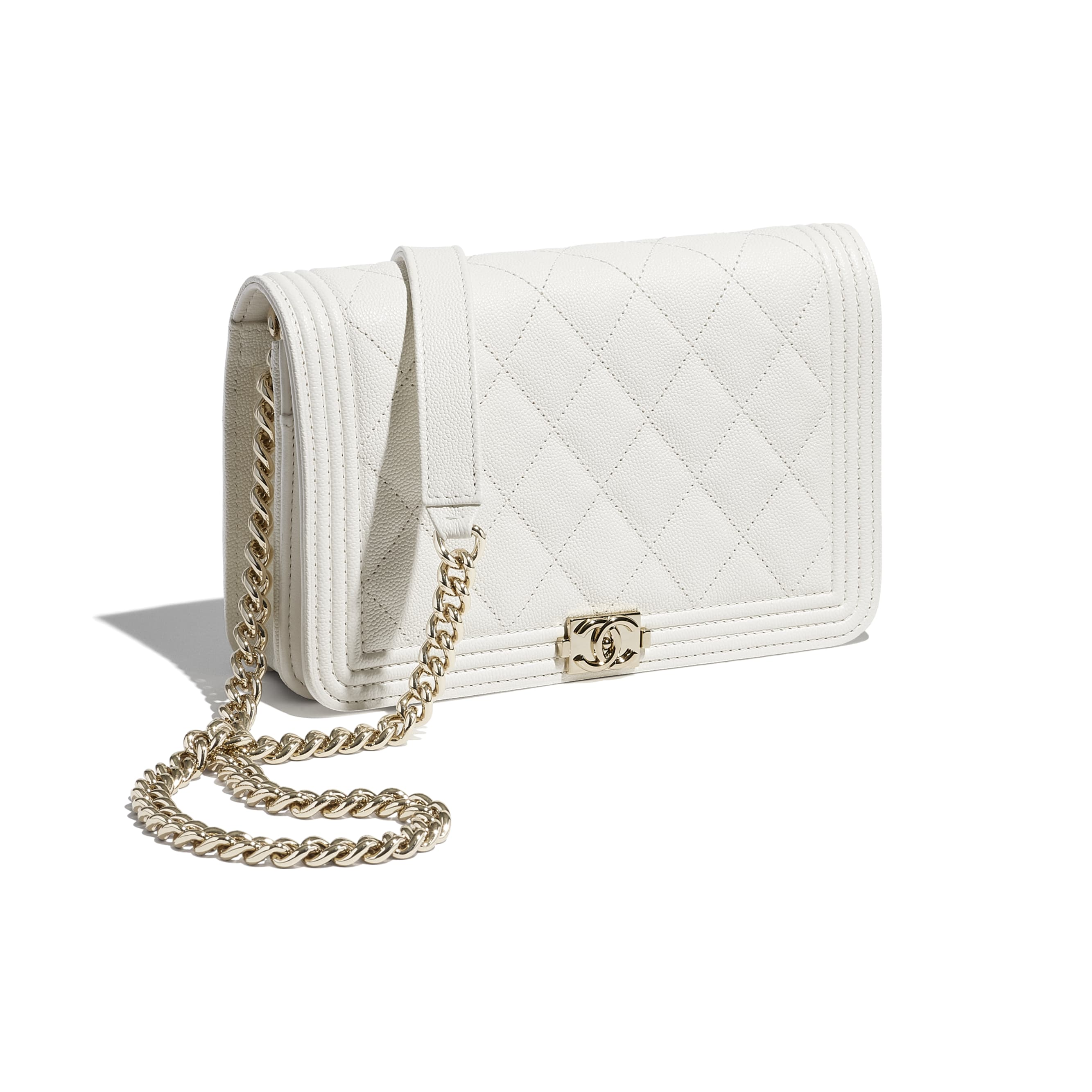 BOY CHANEL Wallet On Chain - White - Grained Calfskin & Gold-Tone Metal - CHANEL - Extra view - see standard sized version