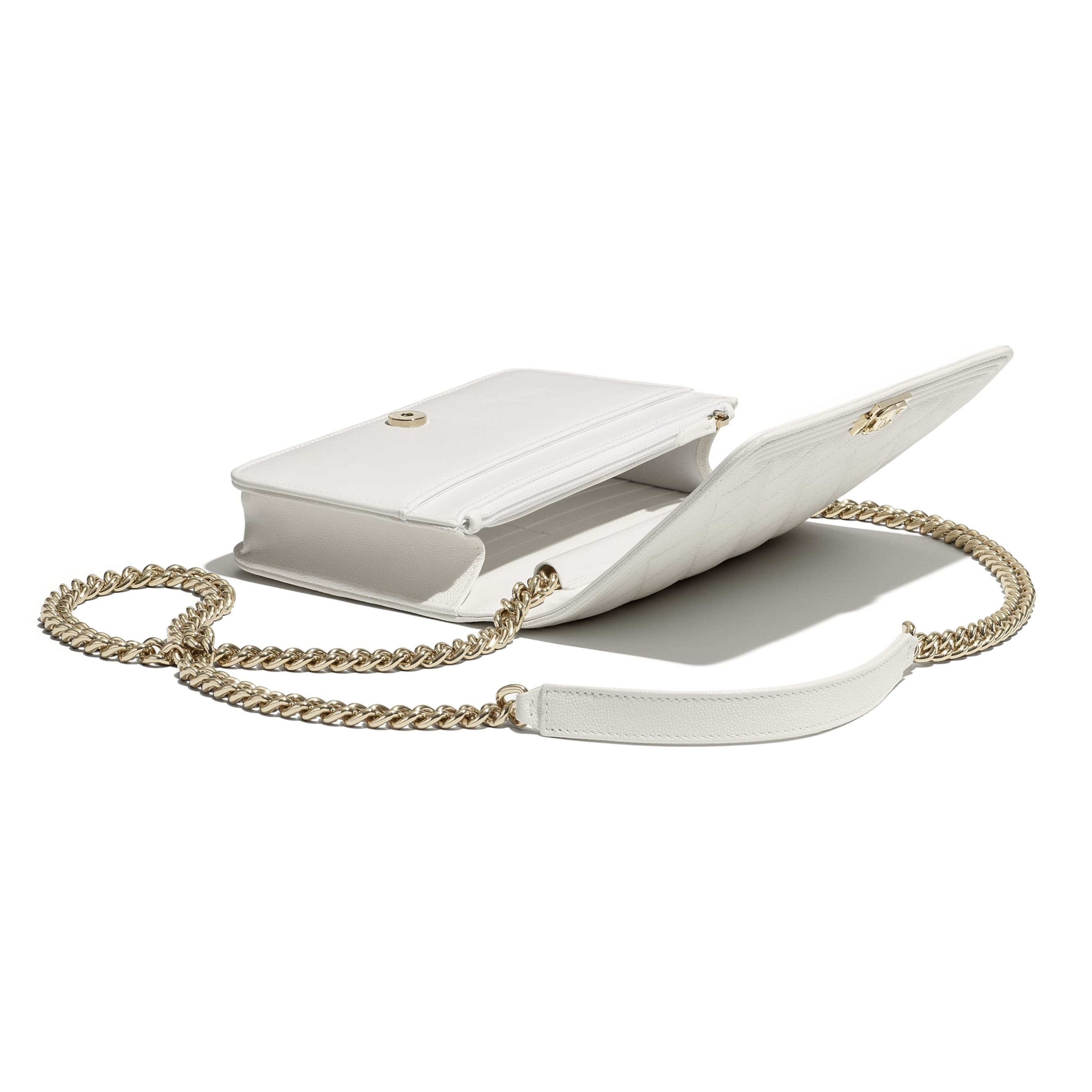 BOY CHANEL Wallet On Chain - White - Grained Calfskin & Gold-Tone Metal - CHANEL - Other view - see standard sized version
