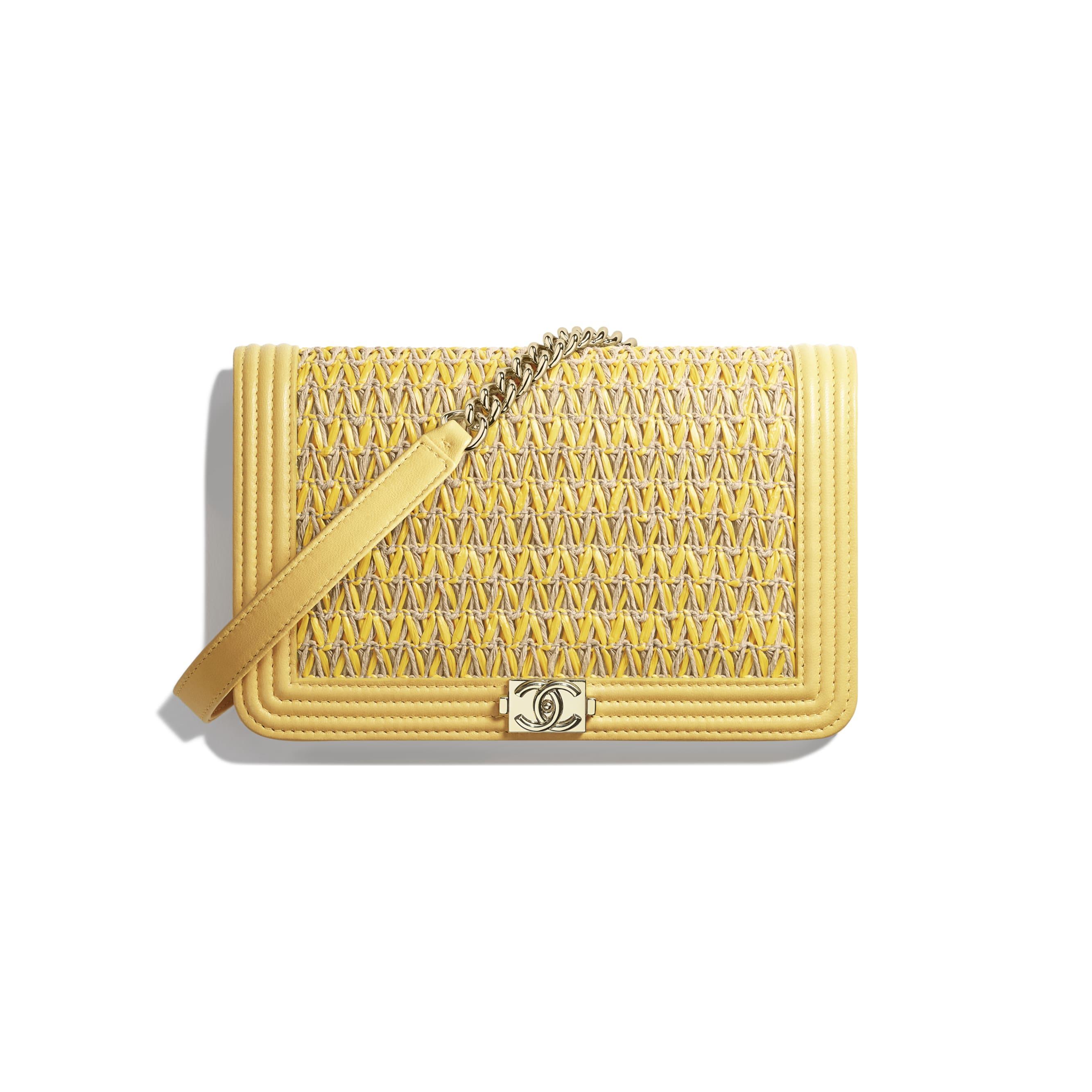 BOY CHANEL Wallet on Chain - Yellow & Beige - Cotton, Lambskin & Gold-Tone Metal - Default view - see standard sized version