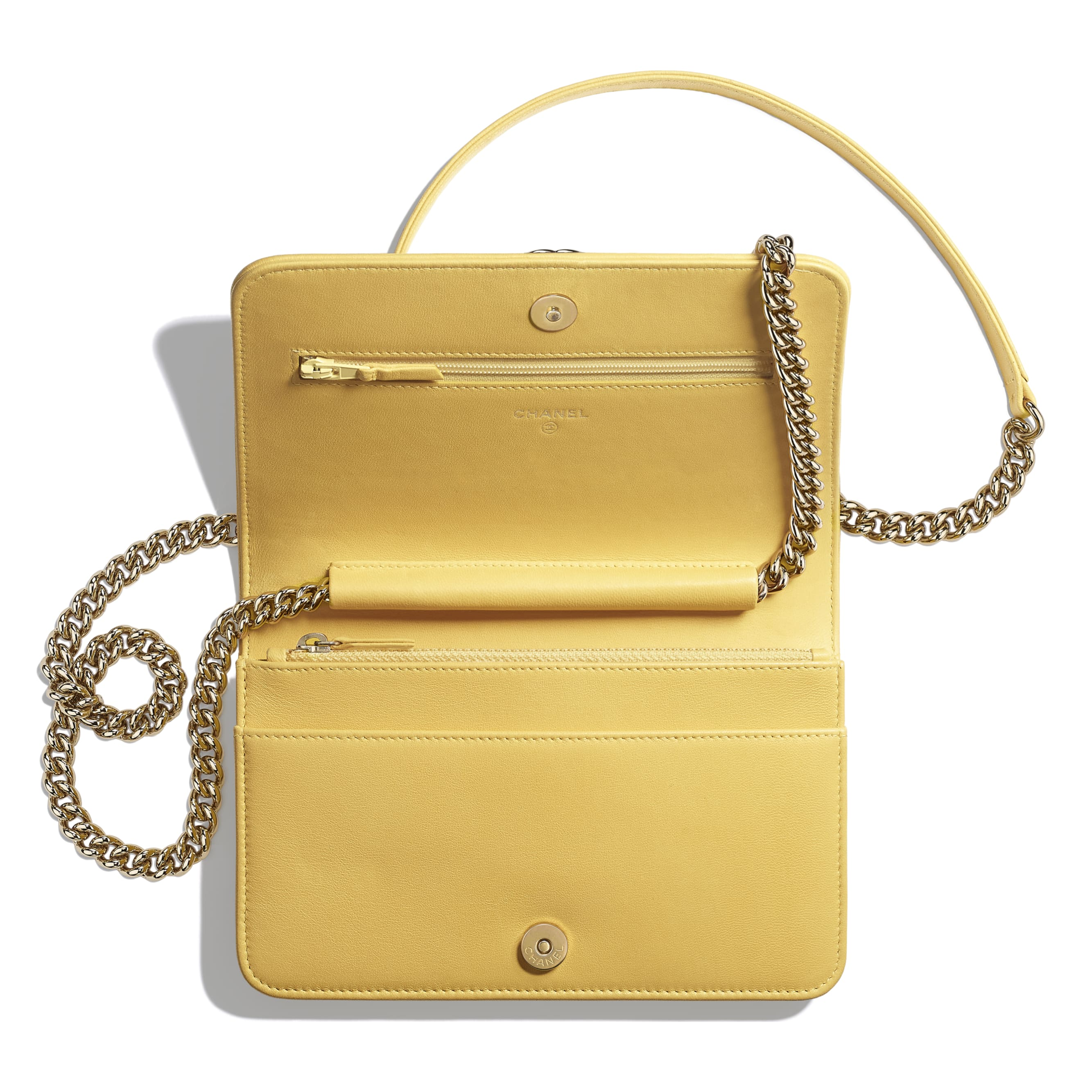 BOY CHANEL Wallet on Chain - Yellow & Beige - Cotton, Lambskin & Gold-Tone Metal - Other view - see standard sized version