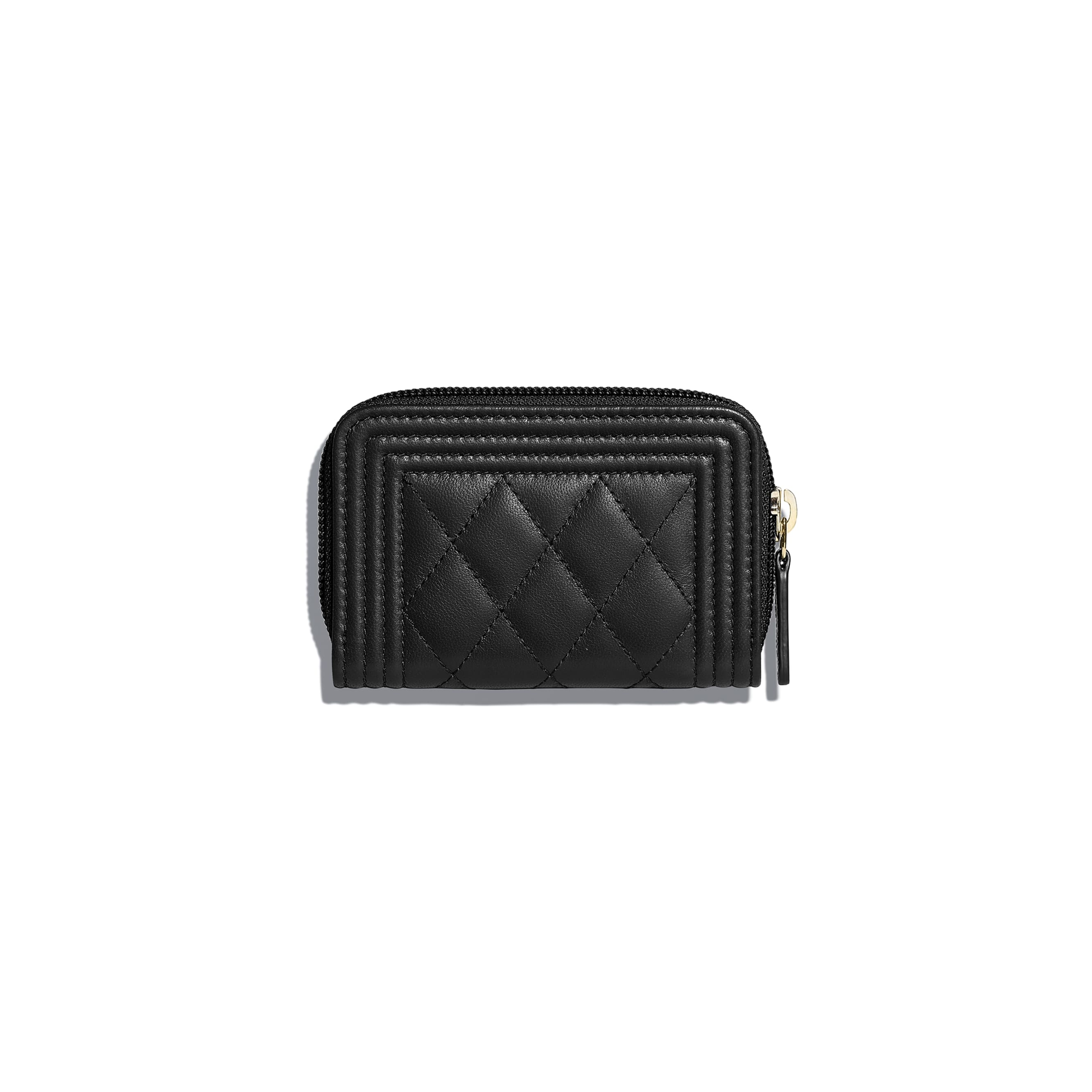 BOY CHANEL Zipped Coin Purse - Black - Lambskin & Gold-Tone Metal - CHANEL - Alternative view - see standard sized version