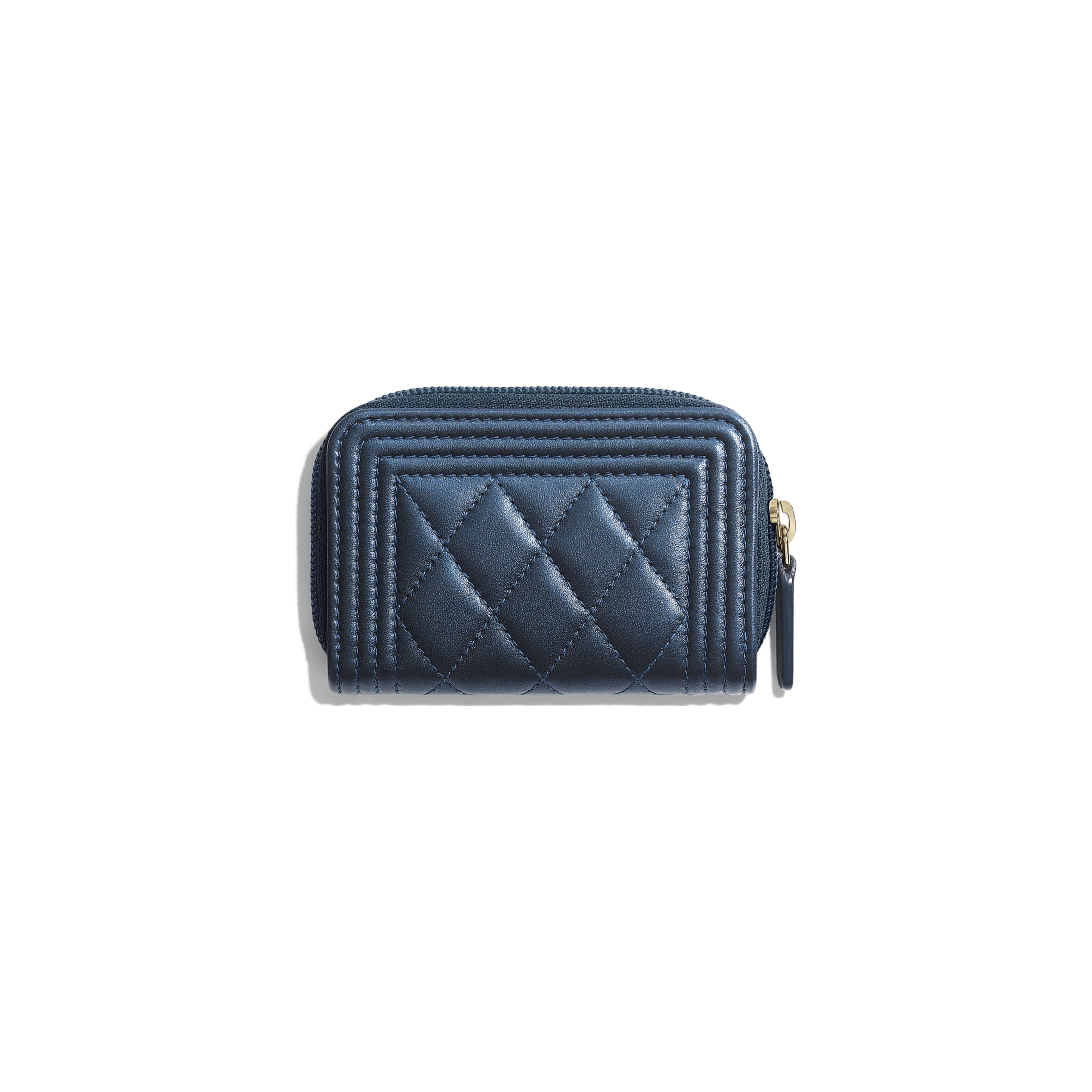 BOY CHANEL Zipped Coin Purse - Navy Blue - Metallic Lambskin & Gold Metal - CHANEL - Alternative view - see standard sized version