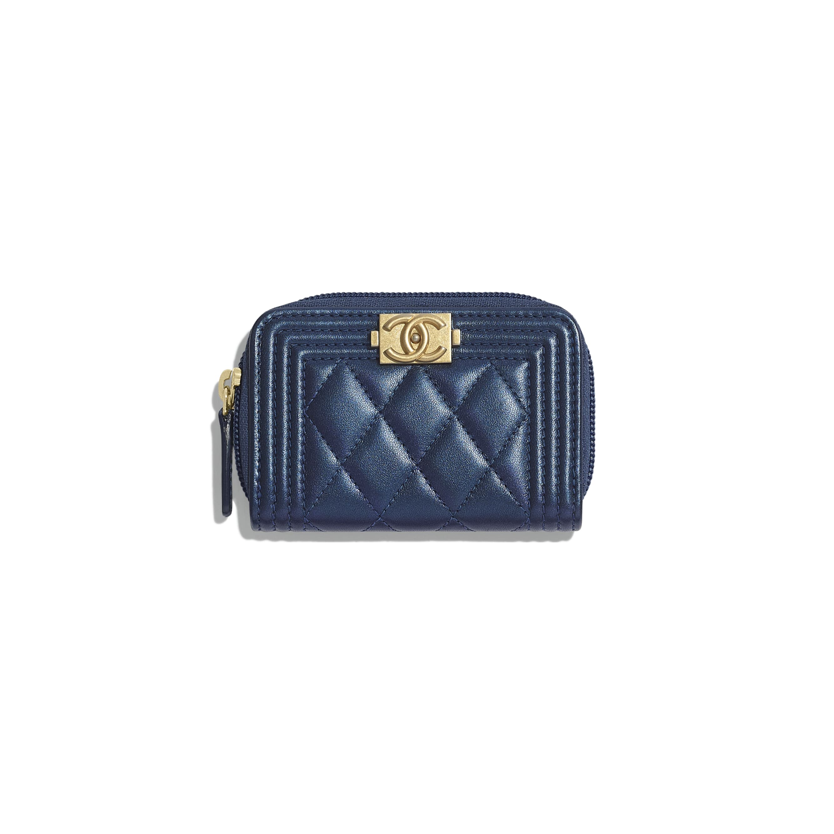 BOY CHANEL Zipped Coin Purse - Navy Blue - Metallic Lambskin & Gold Metal - CHANEL - Default view - see standard sized version