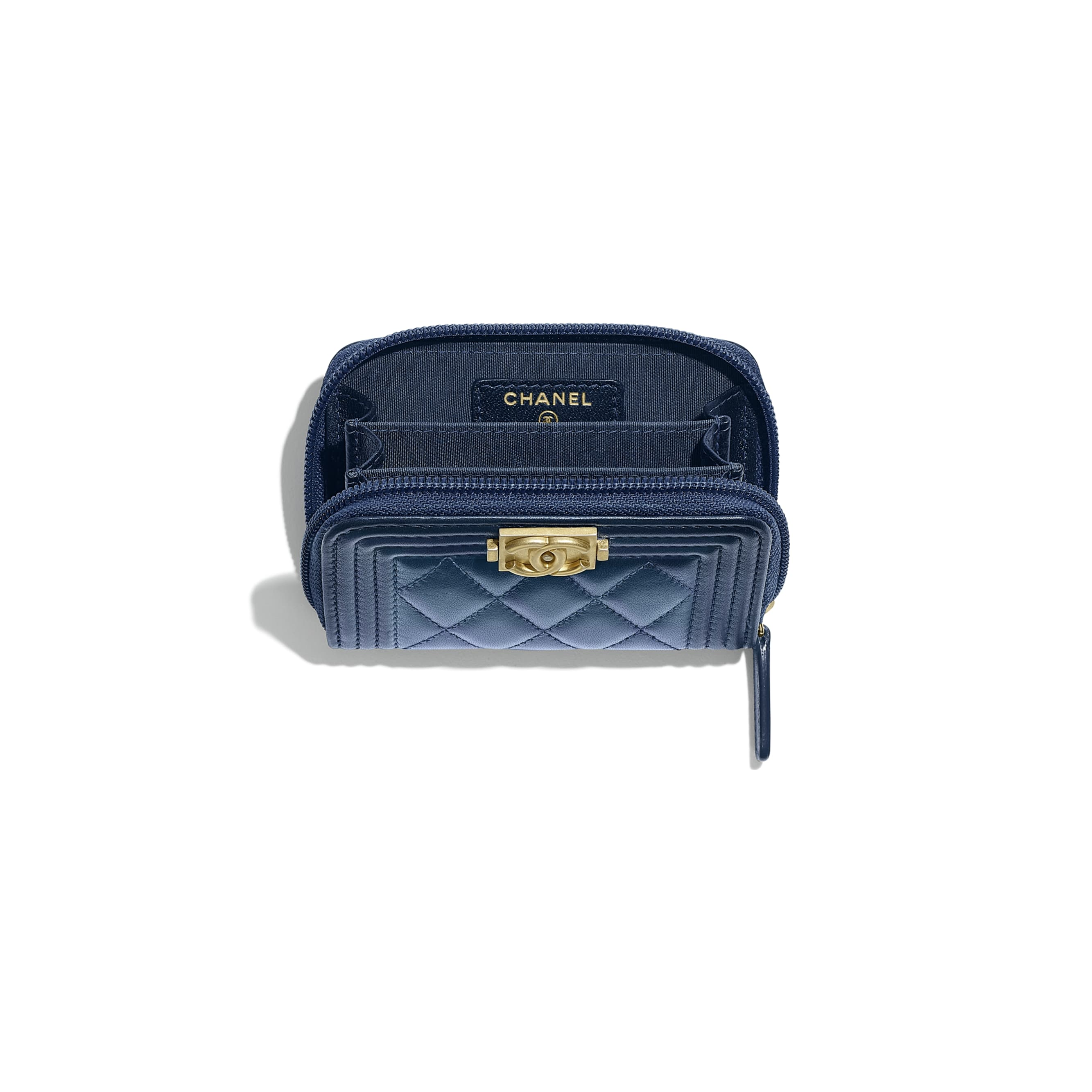 BOY CHANEL Zipped Coin Purse - Navy Blue - Metallic Lambskin & Gold Metal - CHANEL - Other view - see standard sized version