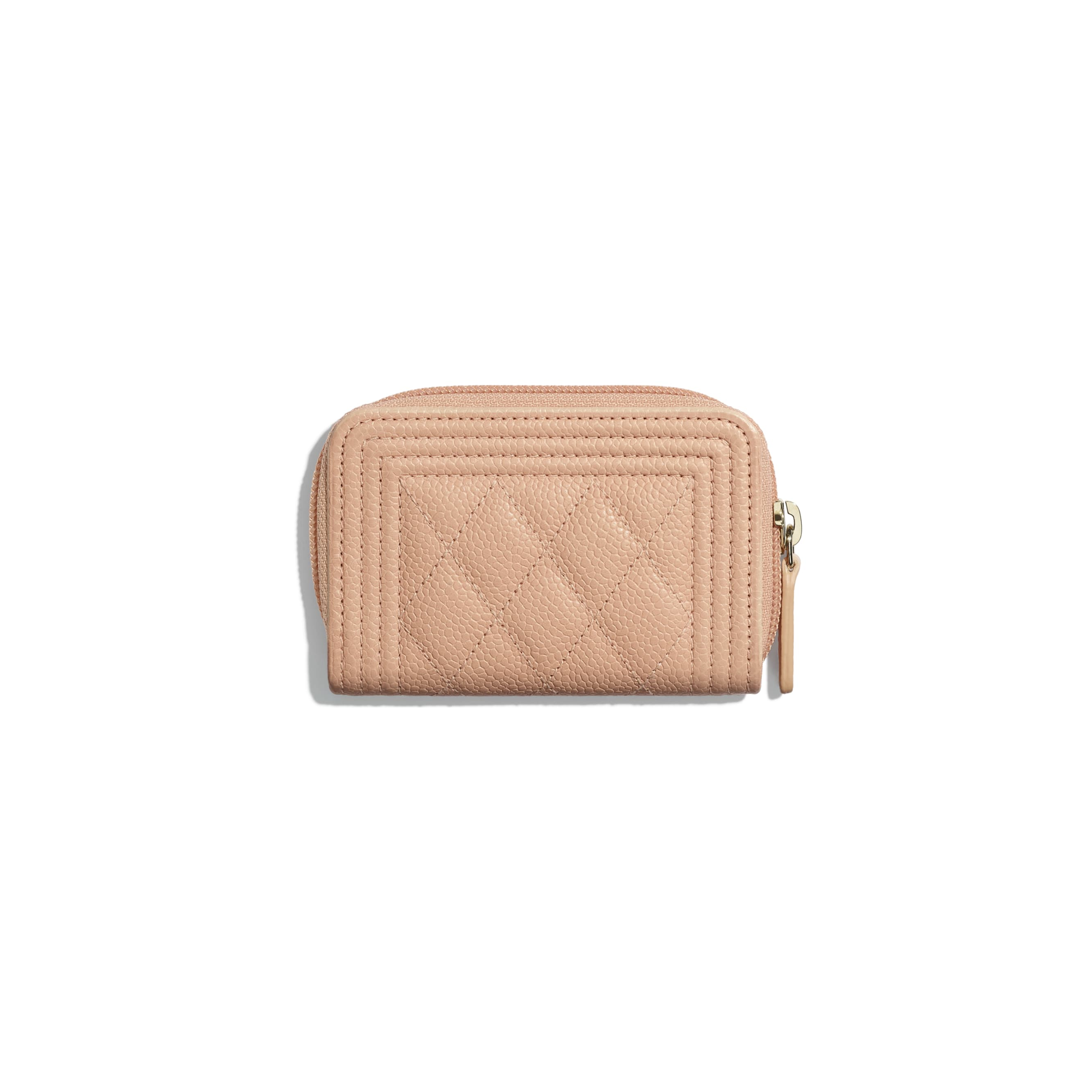 BOY CHANEL Zipped Coin Purse - Pink - Grained Calfskin & Gold-Tone Metal - CHANEL - Alternative view - see standard sized version