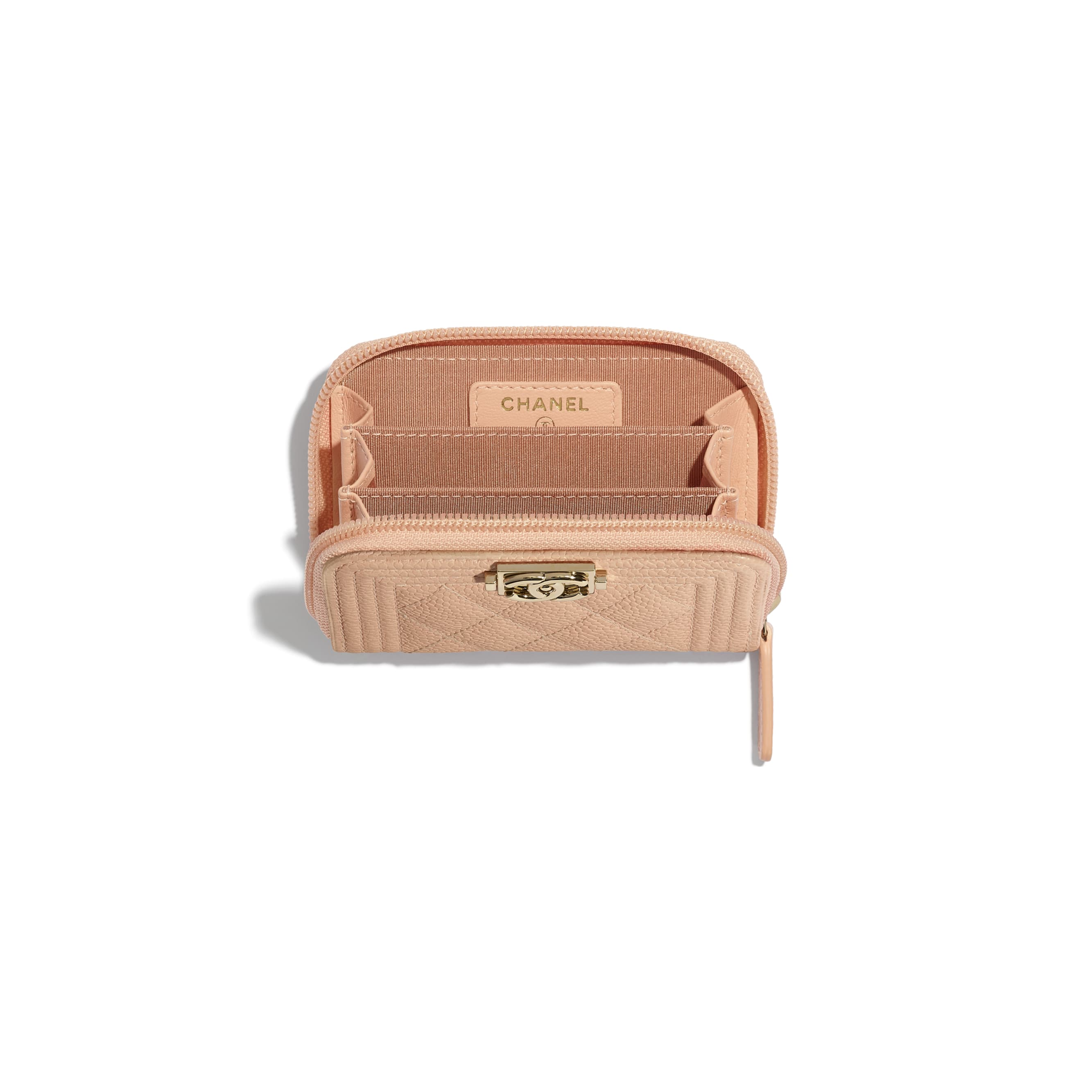BOY CHANEL Zipped Coin Purse - Pink - Grained Calfskin & Gold-Tone Metal - CHANEL - Other view - see standard sized version