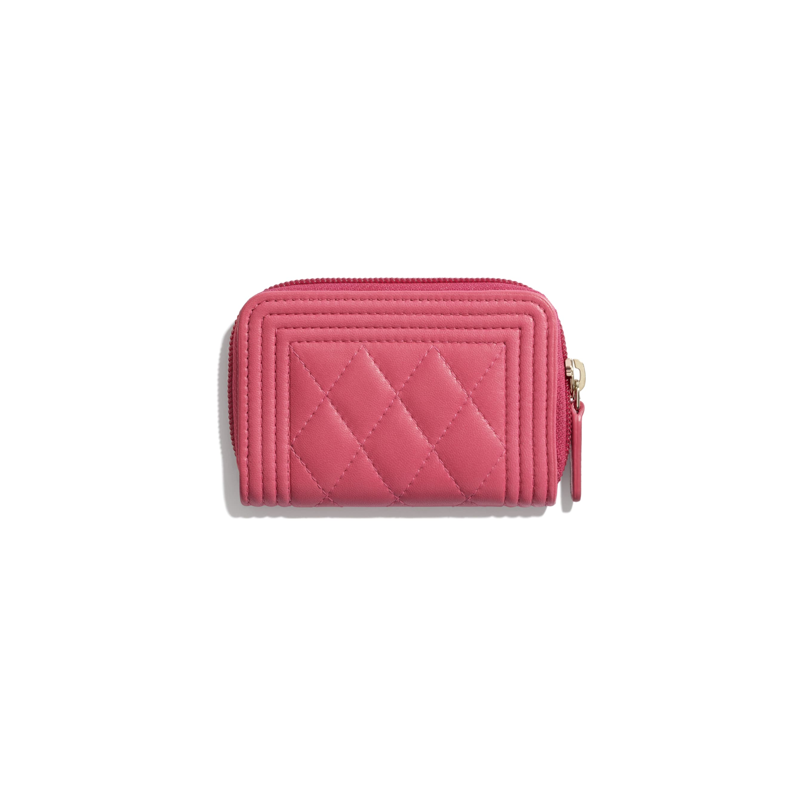 BOY CHANEL Zipped Coin Purse - Pink - Lambskin - CHANEL - Alternative view - see standard sized version