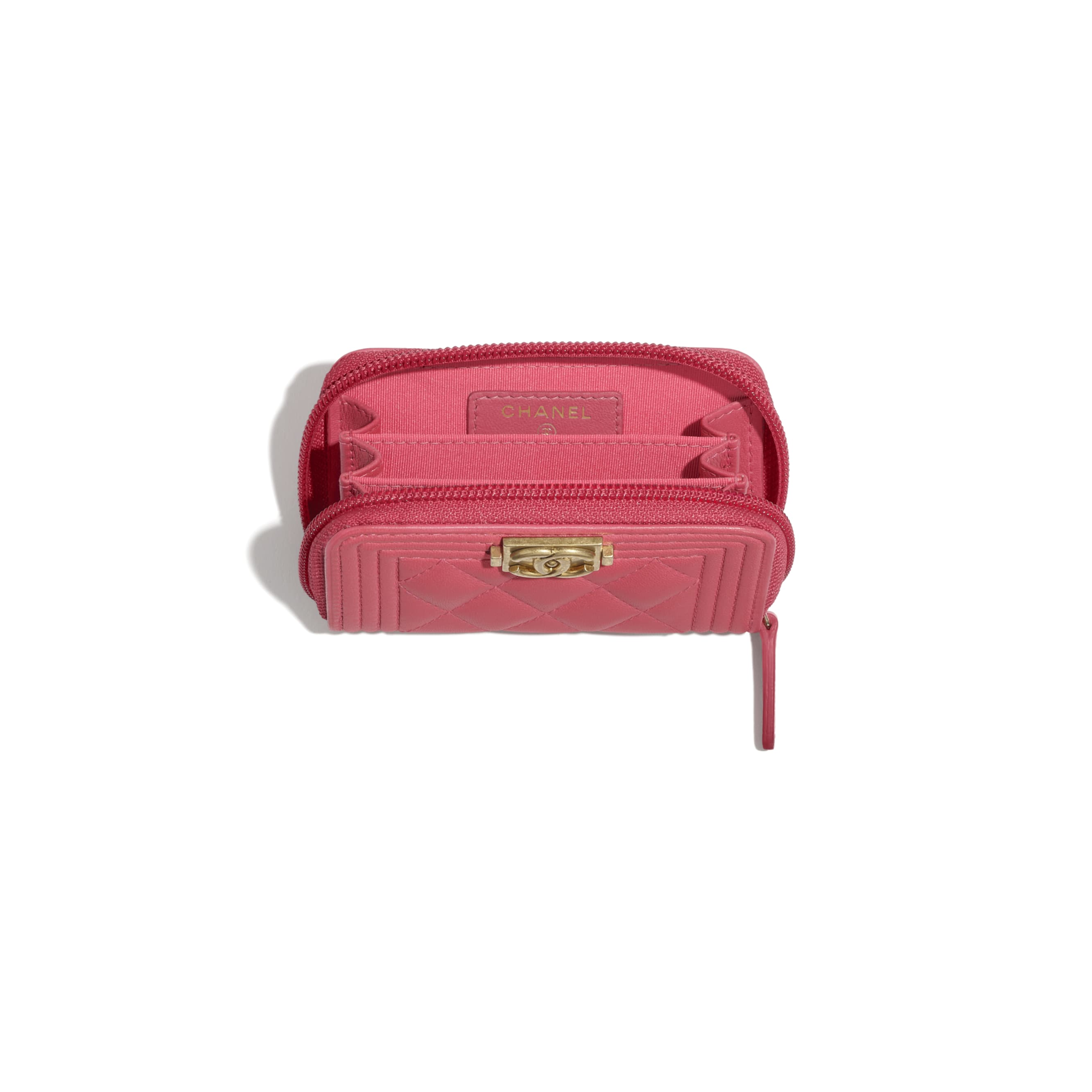 BOY CHANEL Zipped Coin Purse - Pink - Lambskin - CHANEL - Other view - see standard sized version