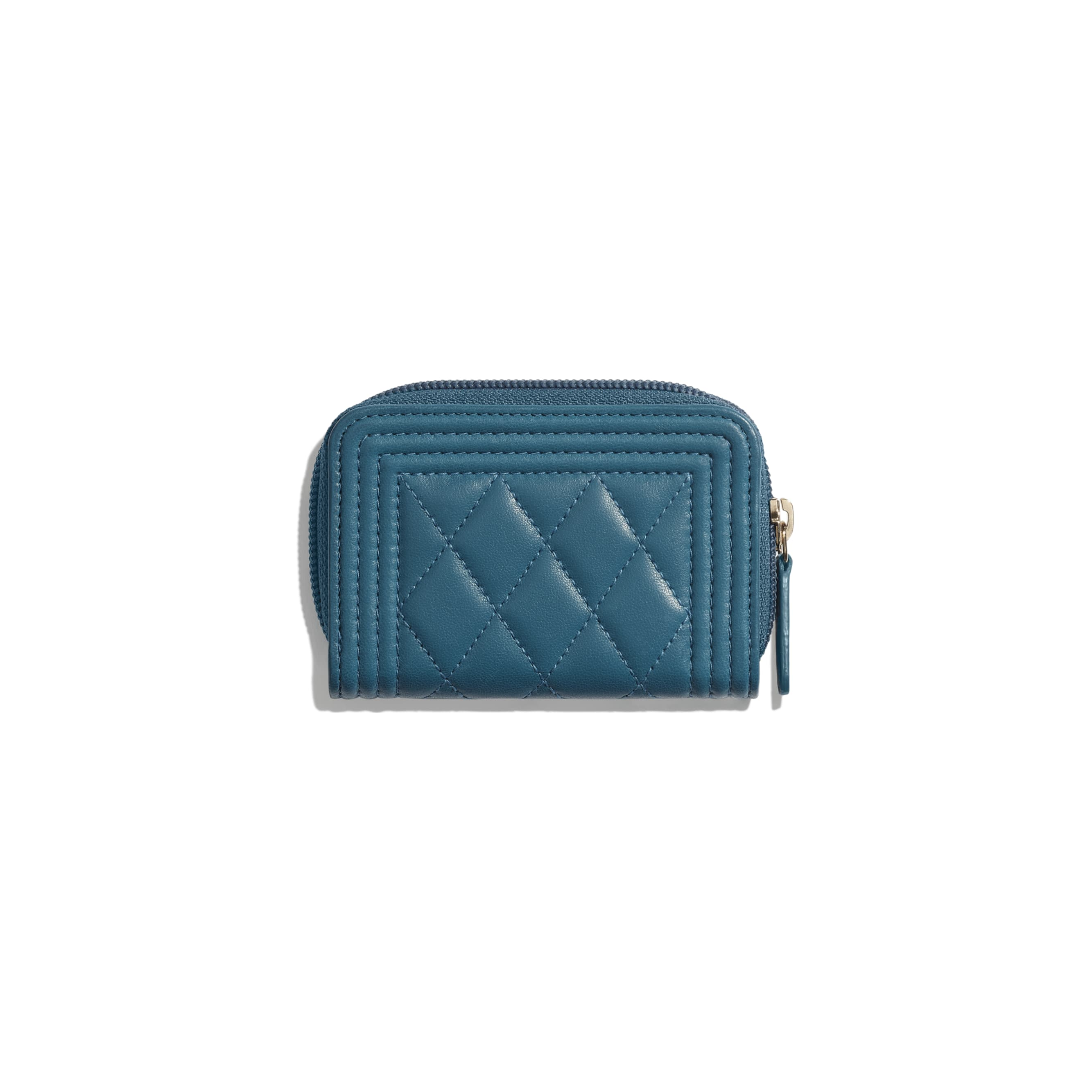 BOY CHANEL Zipped Coin Purse - Turquoise - Lambskin - Alternative view - see standard sized version
