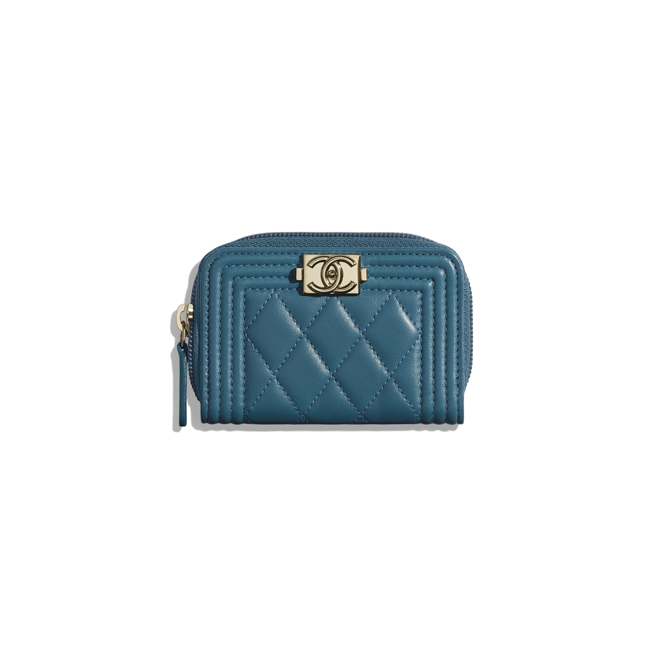 BOY CHANEL Zipped Coin Purse - Turquoise - Lambskin - Default view - see standard sized version
