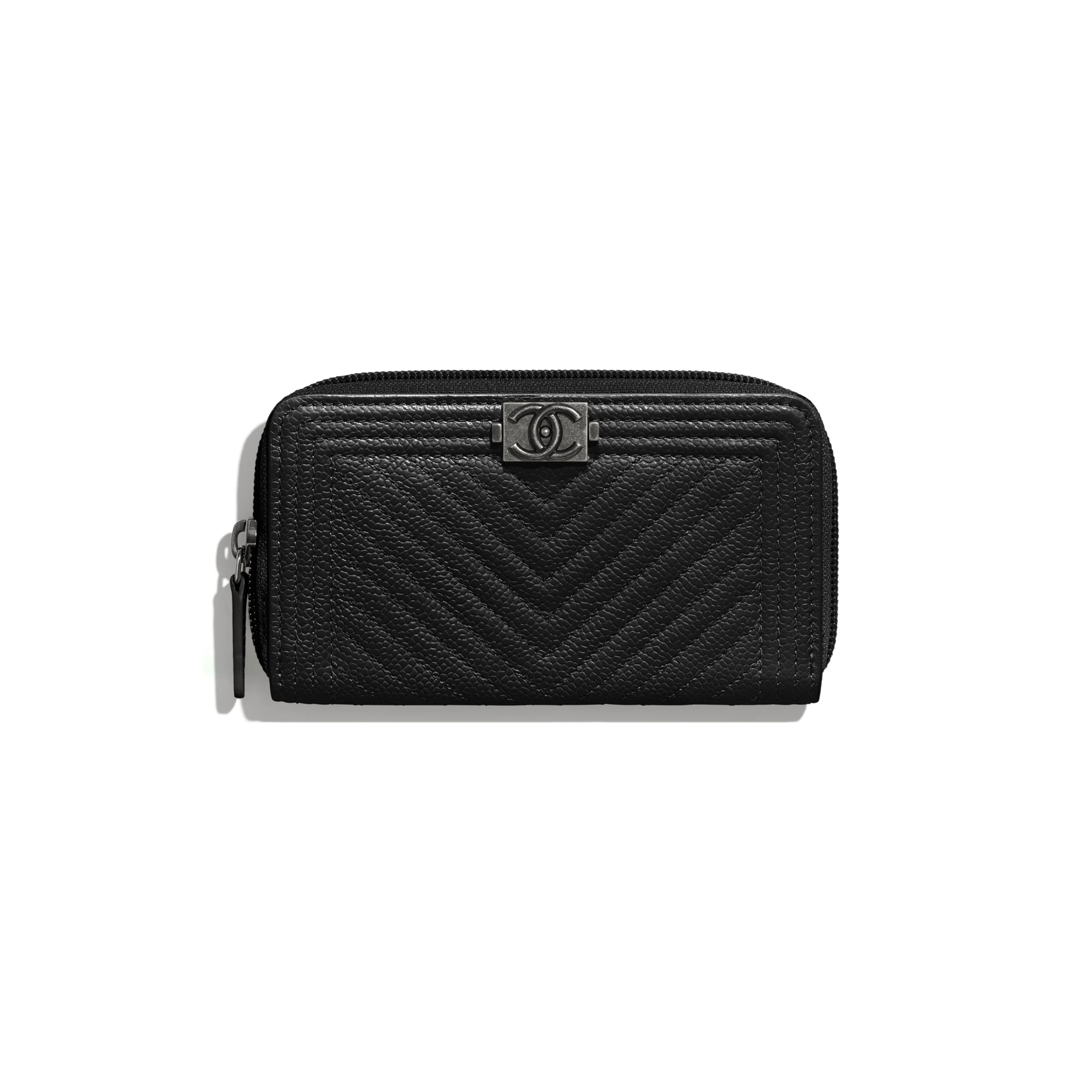 BOY CHANEL Zipped Wallet - Black - Grained Calfskin & Ruthenium-Finish Metal - CHANEL - Default view - see standard sized version