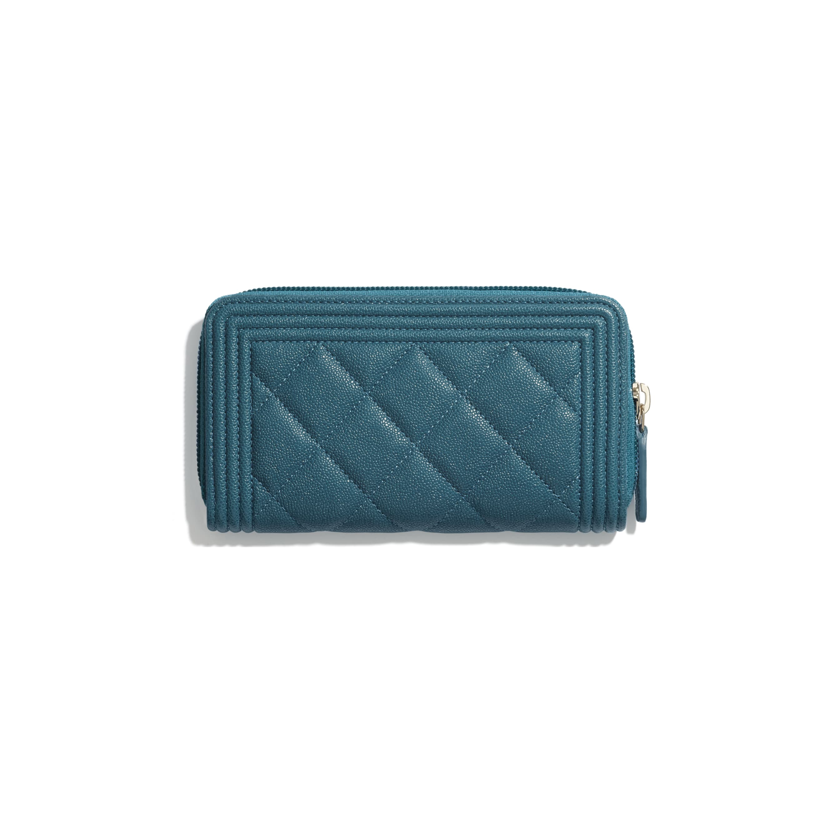 BOY CHANEL Zipped Wallet - Turquoise - Grained Calfskin & Gold-Tone Metal - CHANEL - Alternative view - see standard sized version