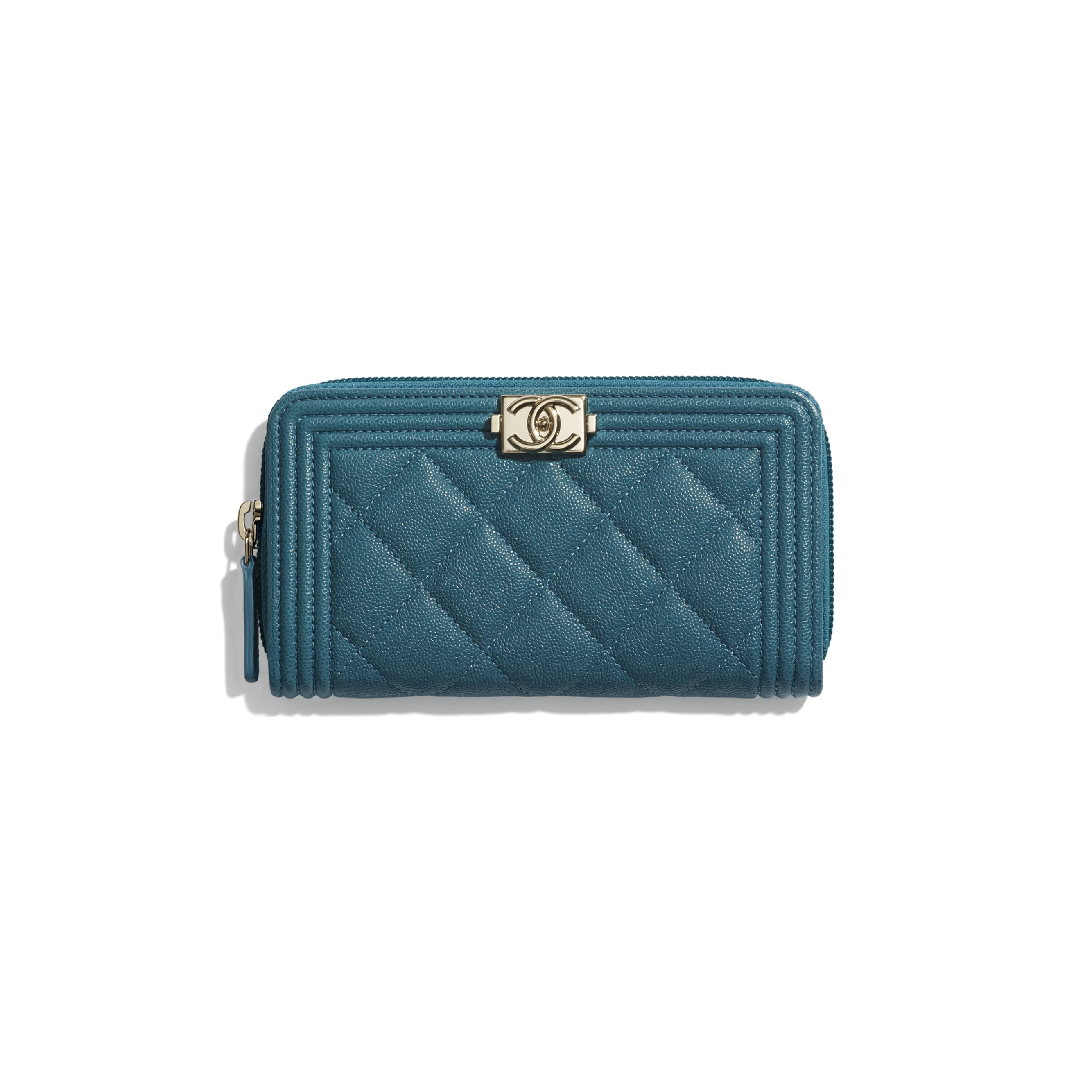 BOY CHANEL Zipped Wallet - Turquoise - Grained Calfskin & Gold-Tone Metal - CHANEL - Default view - see standard sized version
