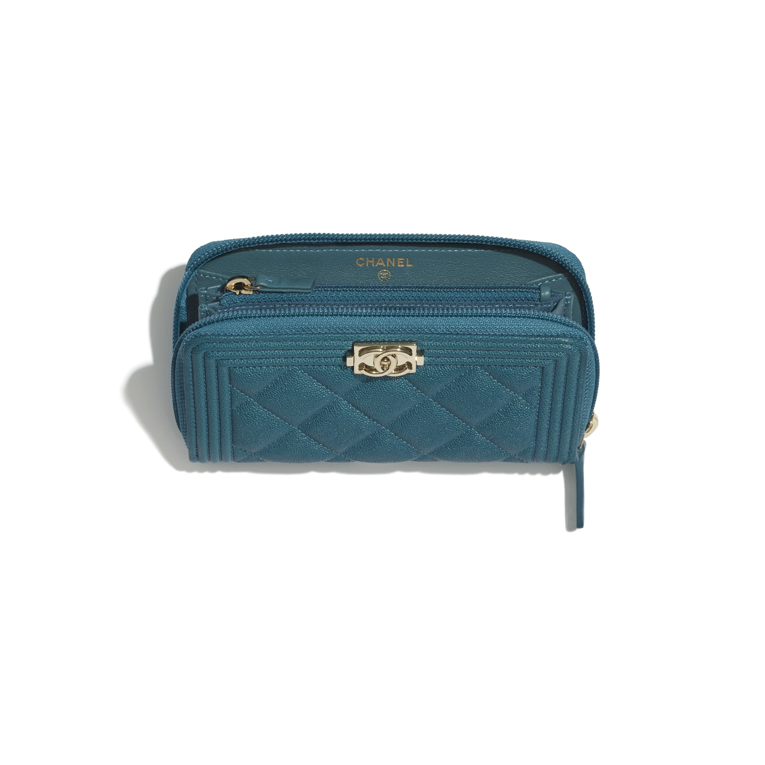 BOY CHANEL Zipped Wallet - Turquoise - Grained Calfskin & Gold-Tone Metal - CHANEL - Other view - see standard sized version