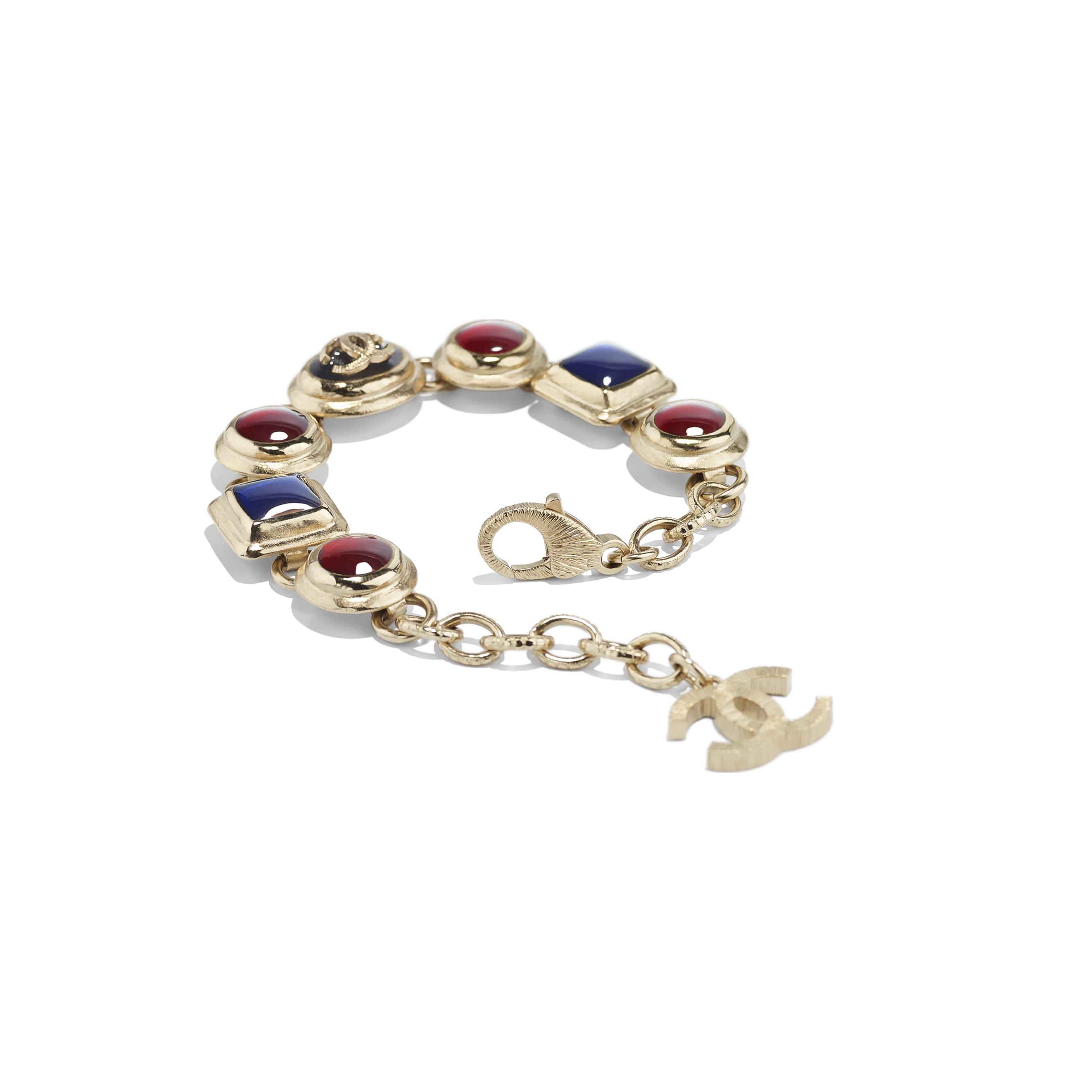 Bracelet - Gold, Black, Burgundy & Blue - Metal & Resin - CHANEL - Alternative view - see standard sized version