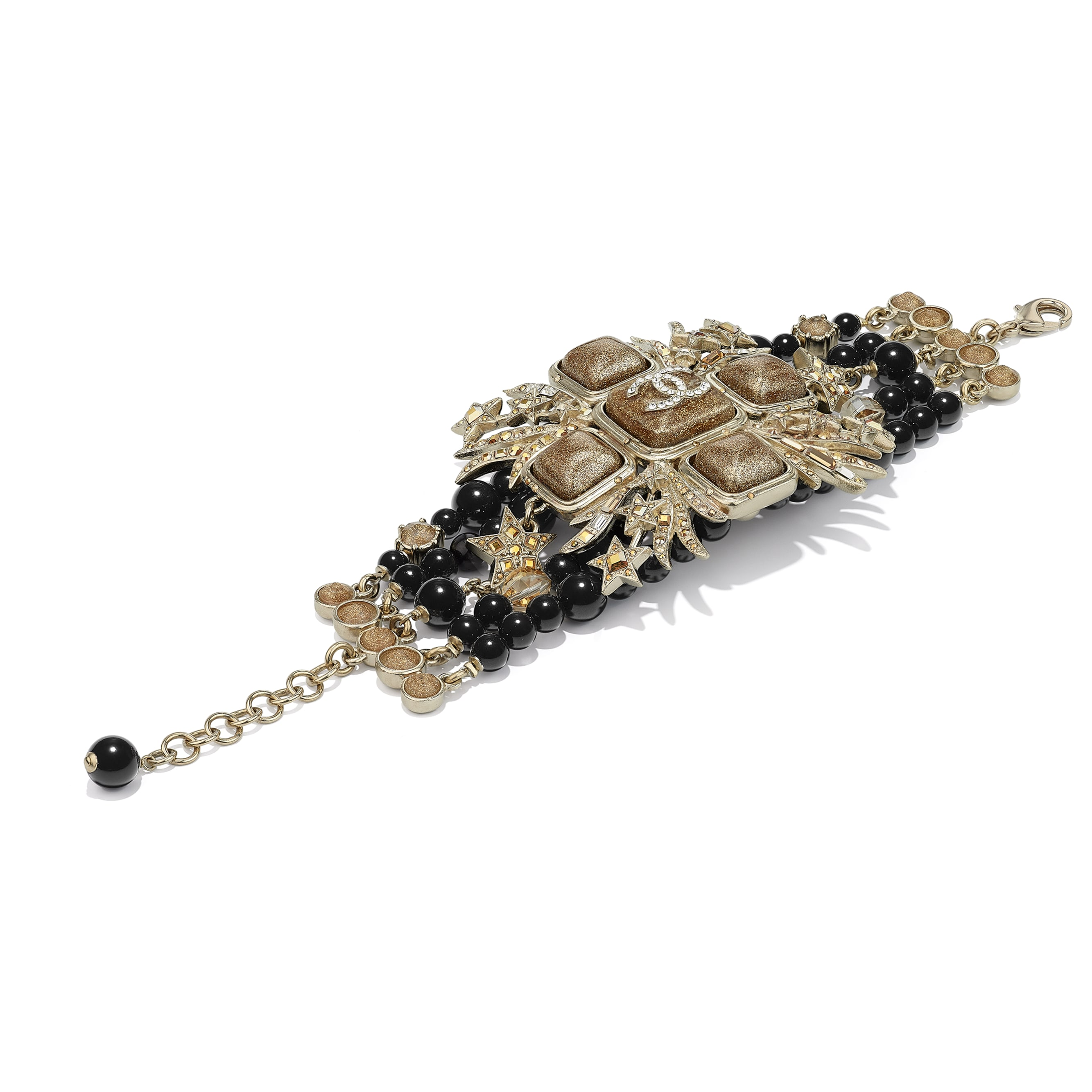 Bracelet - Gold, Black & Crystal - Metal, Glass Pearls, Glass & Strass - CHANEL - Alternative view - see standard sized version