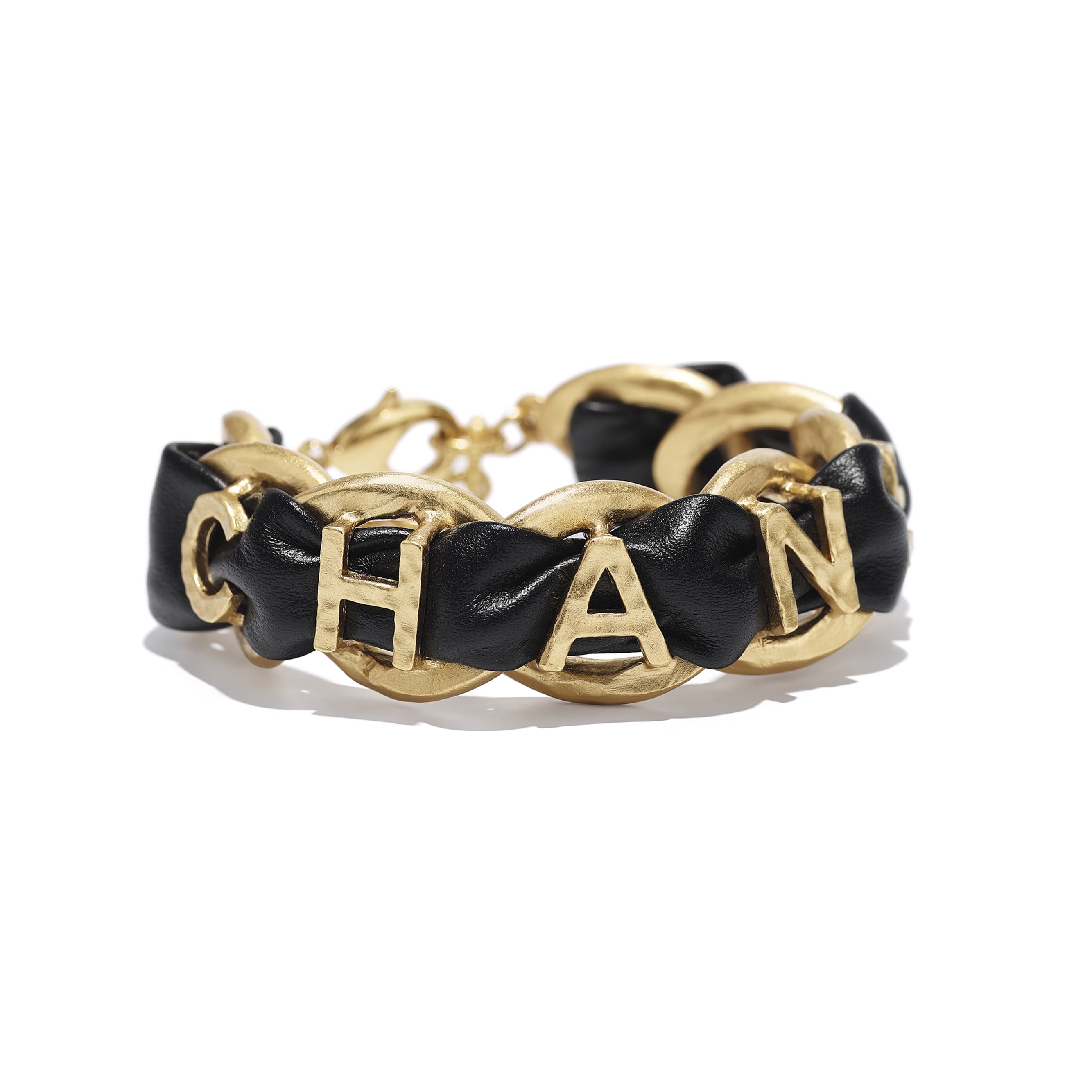 Bracelet - Gold & Black - Metal & Calfskin - CHANEL - Alternative view - see standard sized version