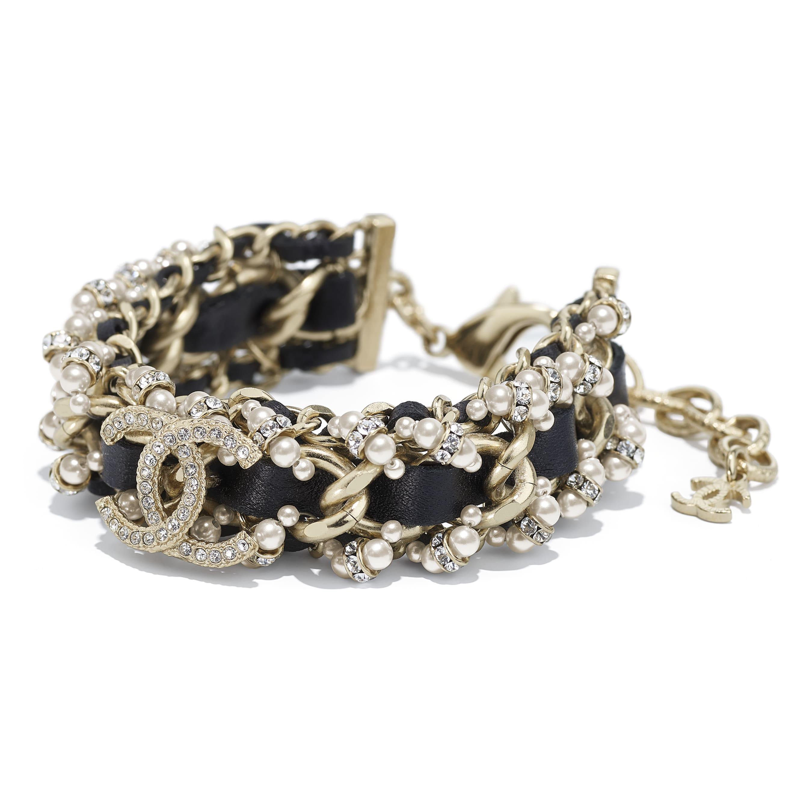 Bracelet - Gold, Black, Pearly White & Crystal - Metal, Calfskin, Glass Pearls & Strass - CHANEL - Alternative view - see standard sized version