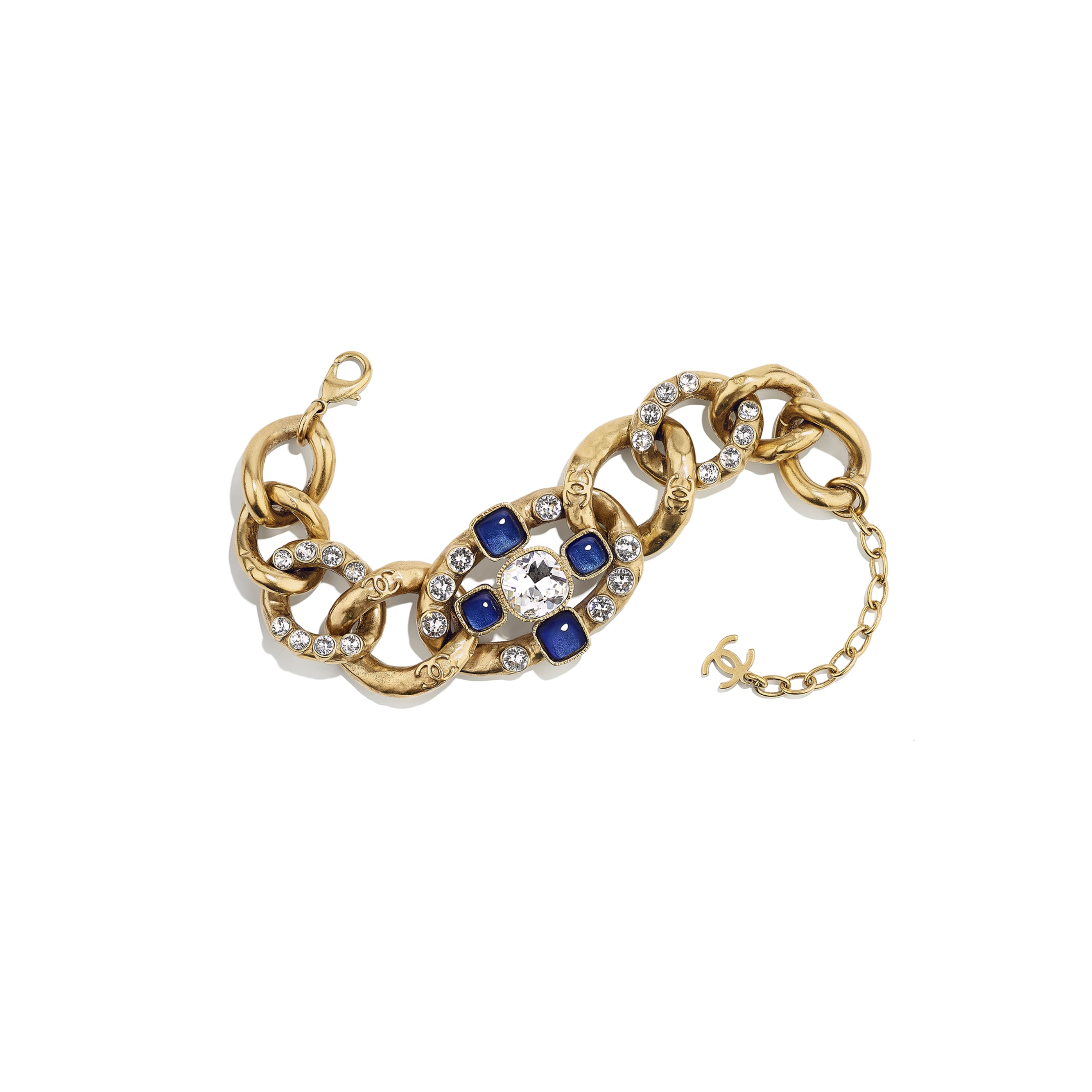Bracelet - Gold, Blue & Crystal - Metal, Glass & Diamanté - Default view - see standard sized version