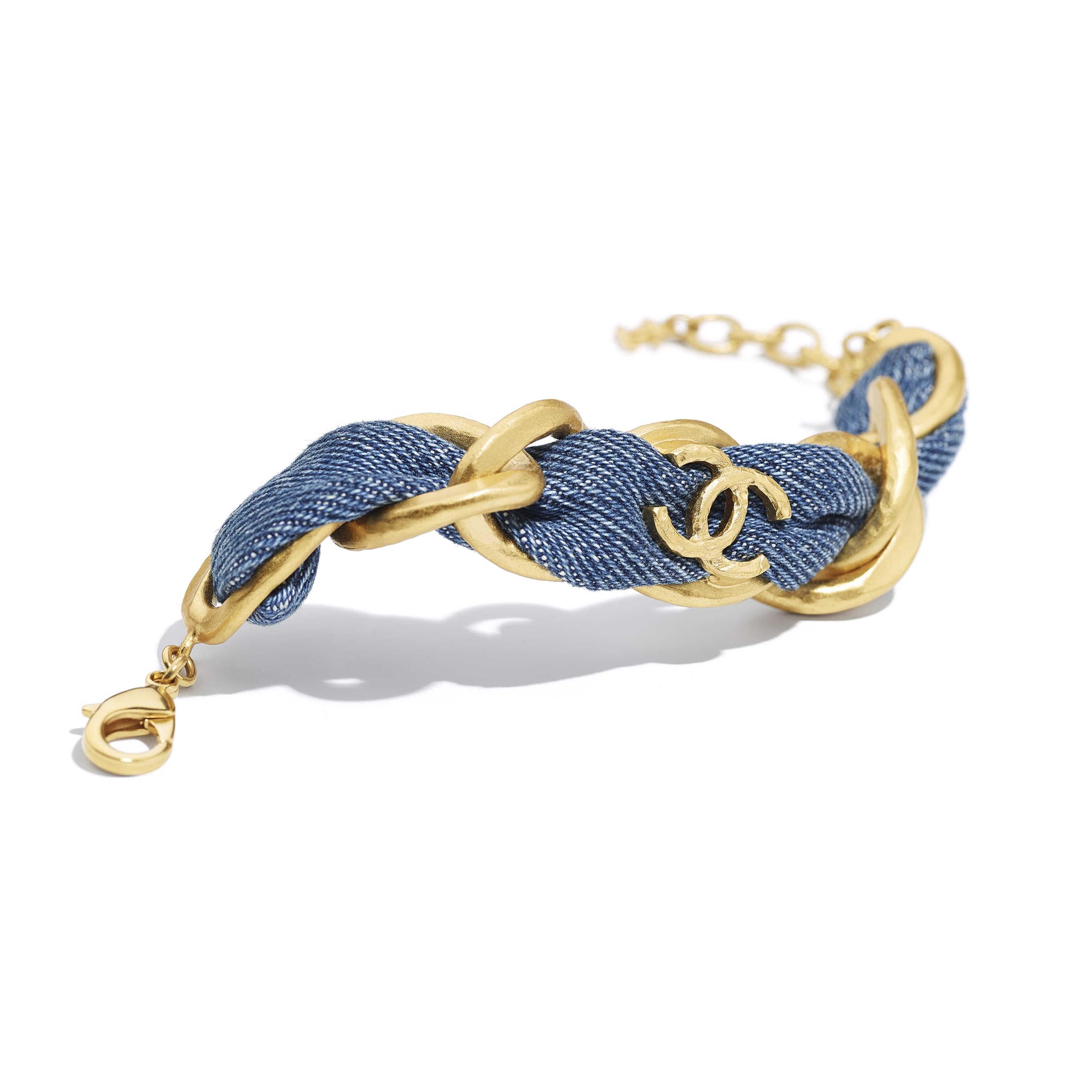 Bracelet - Gold & Blue - Metal & Denim - CHANEL - Alternative view - see standard sized version