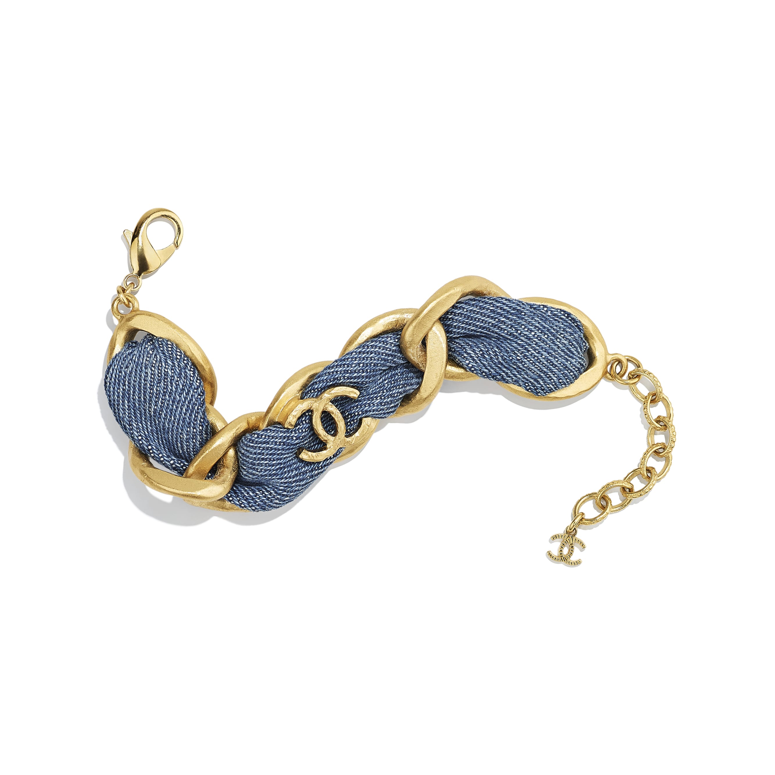 Bracelet - Gold & Blue - Metal & Denim - CHANEL - Default view - see standard sized version