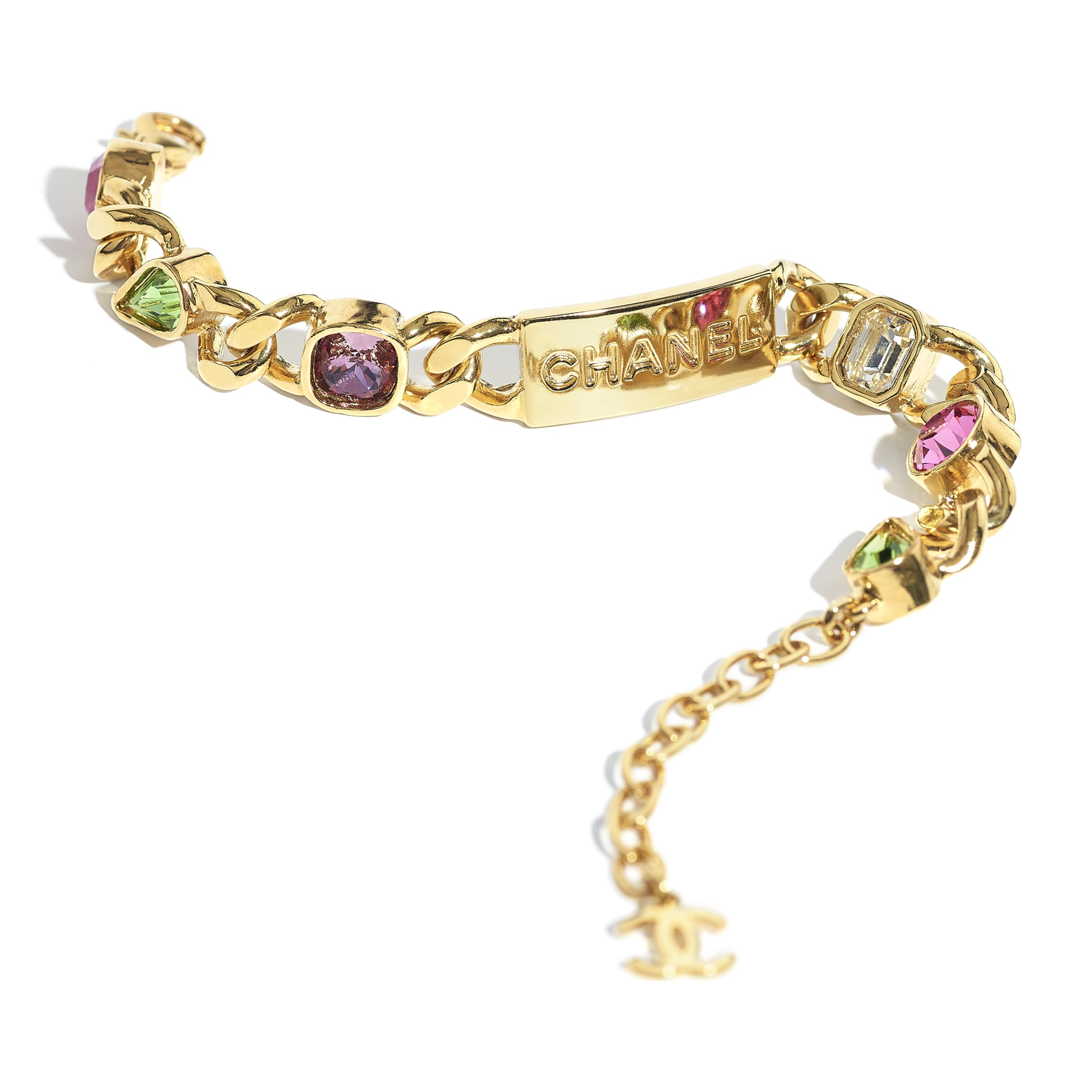Bracelet - Gold, Crystal, Pink, Purple & Green - Metal & Diamantés - CHANEL - Alternative view - see standard sized version