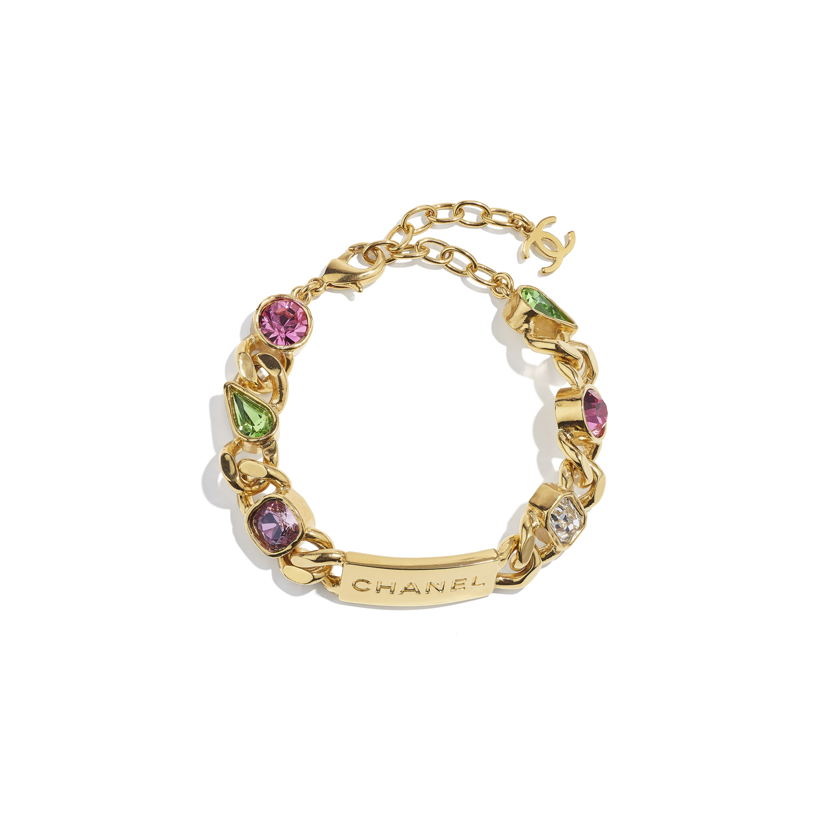 Bracelet - Gold, Crystal, Pink, Purple & Green - Metal & Diamantés - CHANEL - Default view - see standard sized version