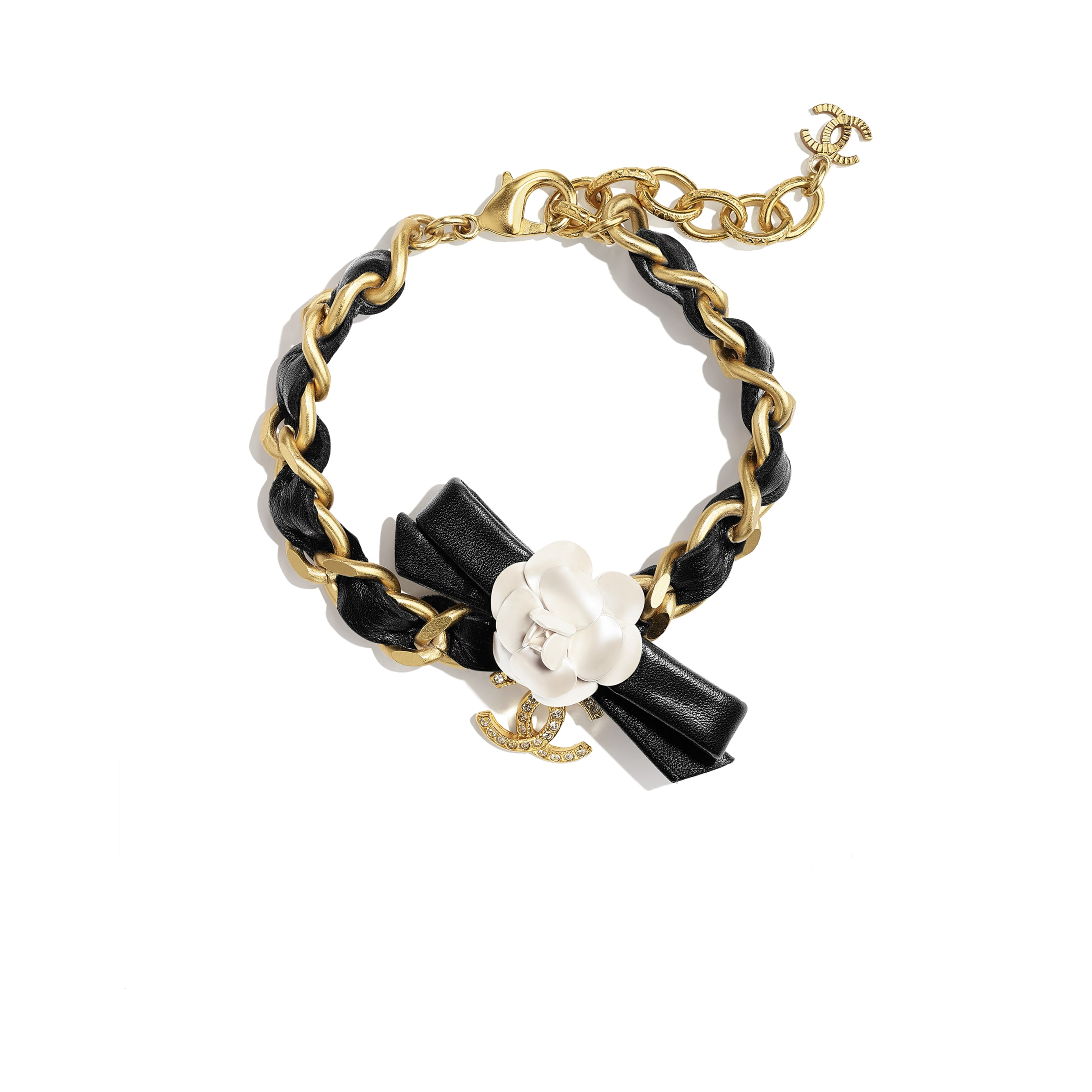 Bracelet - Gold, Pearly White, Black & Crystal - Metal, calfskin & diamanté - CHANEL - Default view - see standard sized version