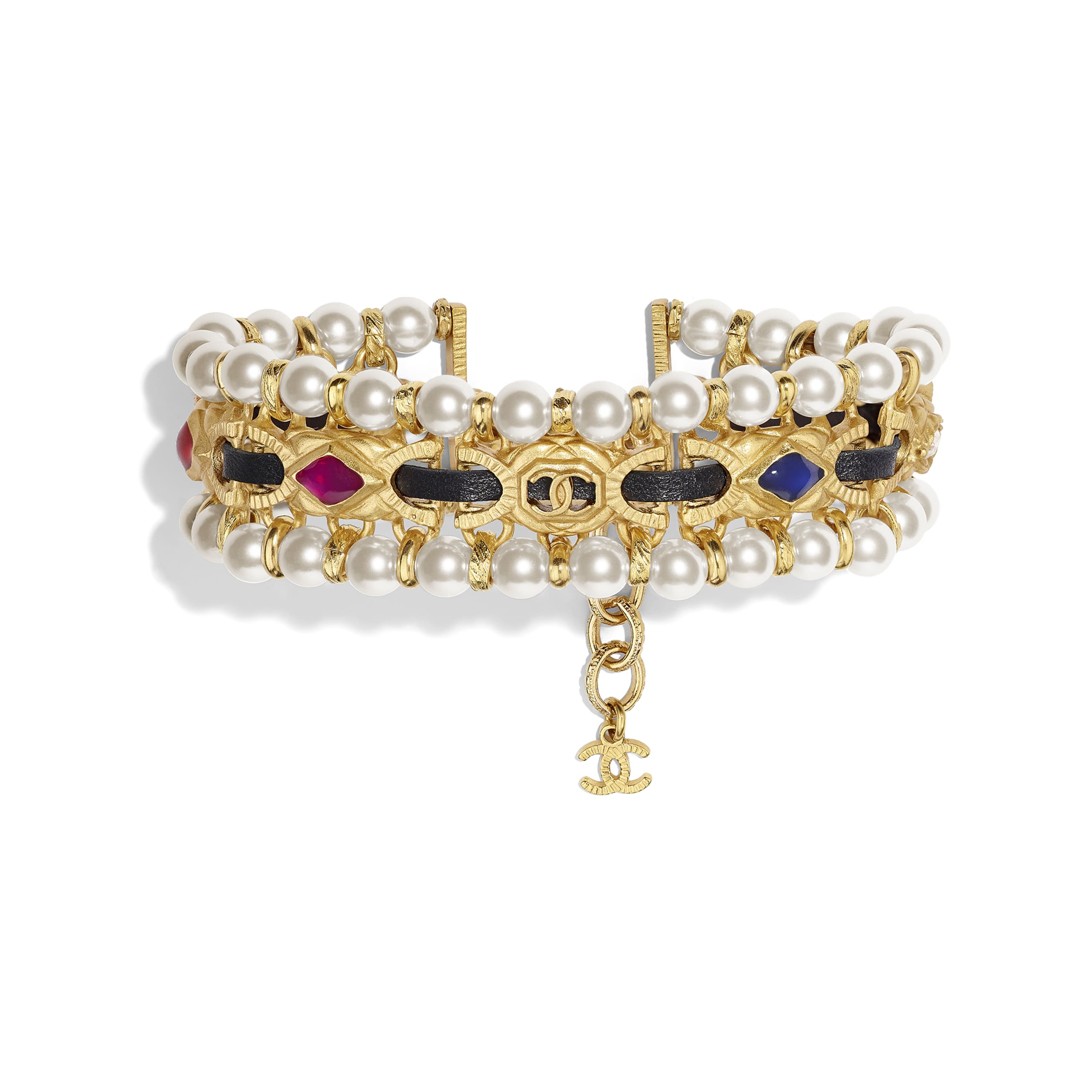 Bracelet - Gold, Pearly White, Black, Crystal & Multicolour - Metal, glass pearls, lambskin, diamanté  & resin - CHANEL - Default view - see standard sized version