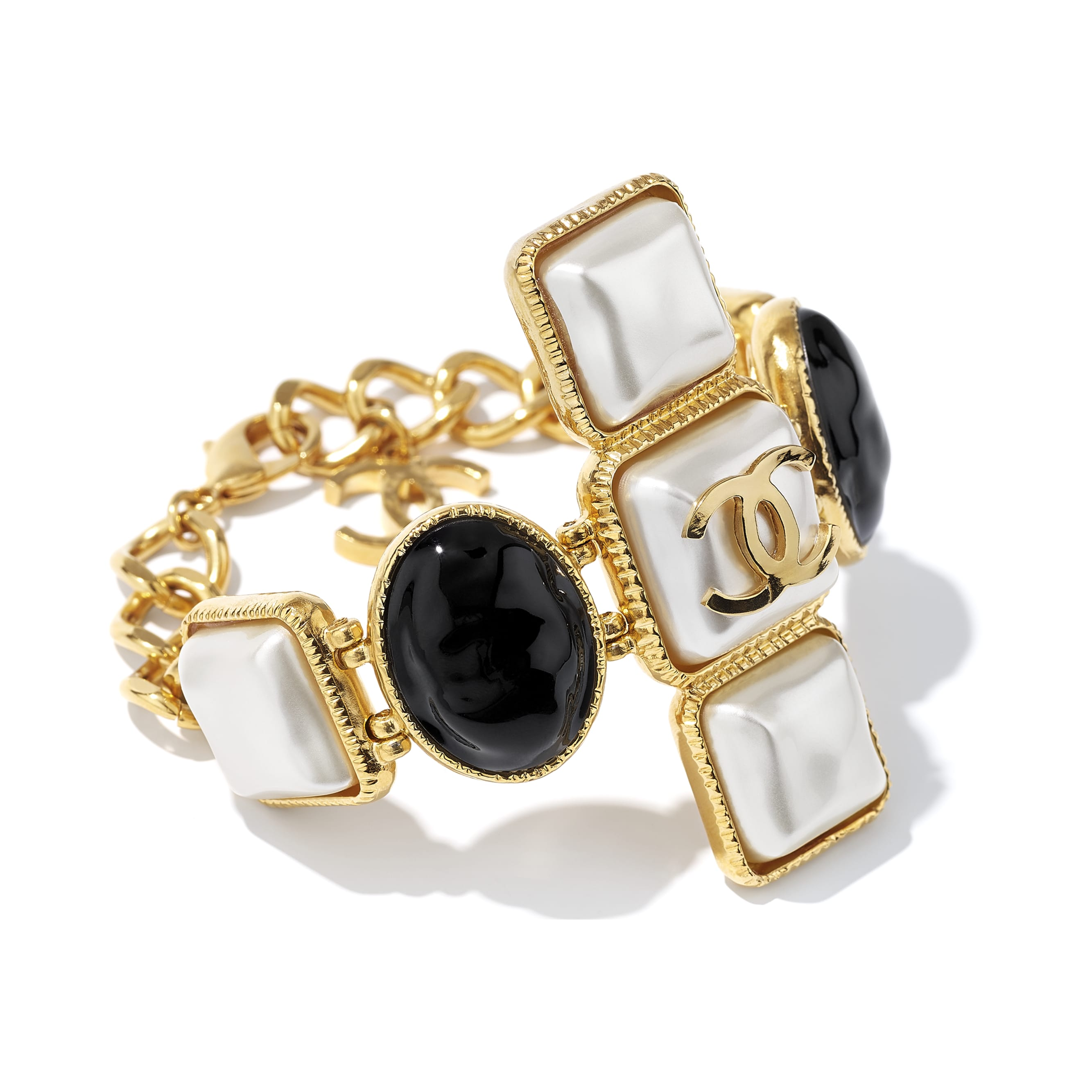 Bracelet - Gold, Pearly White & Black - Metal & Resin - CHANEL - Alternative view - see standard sized version