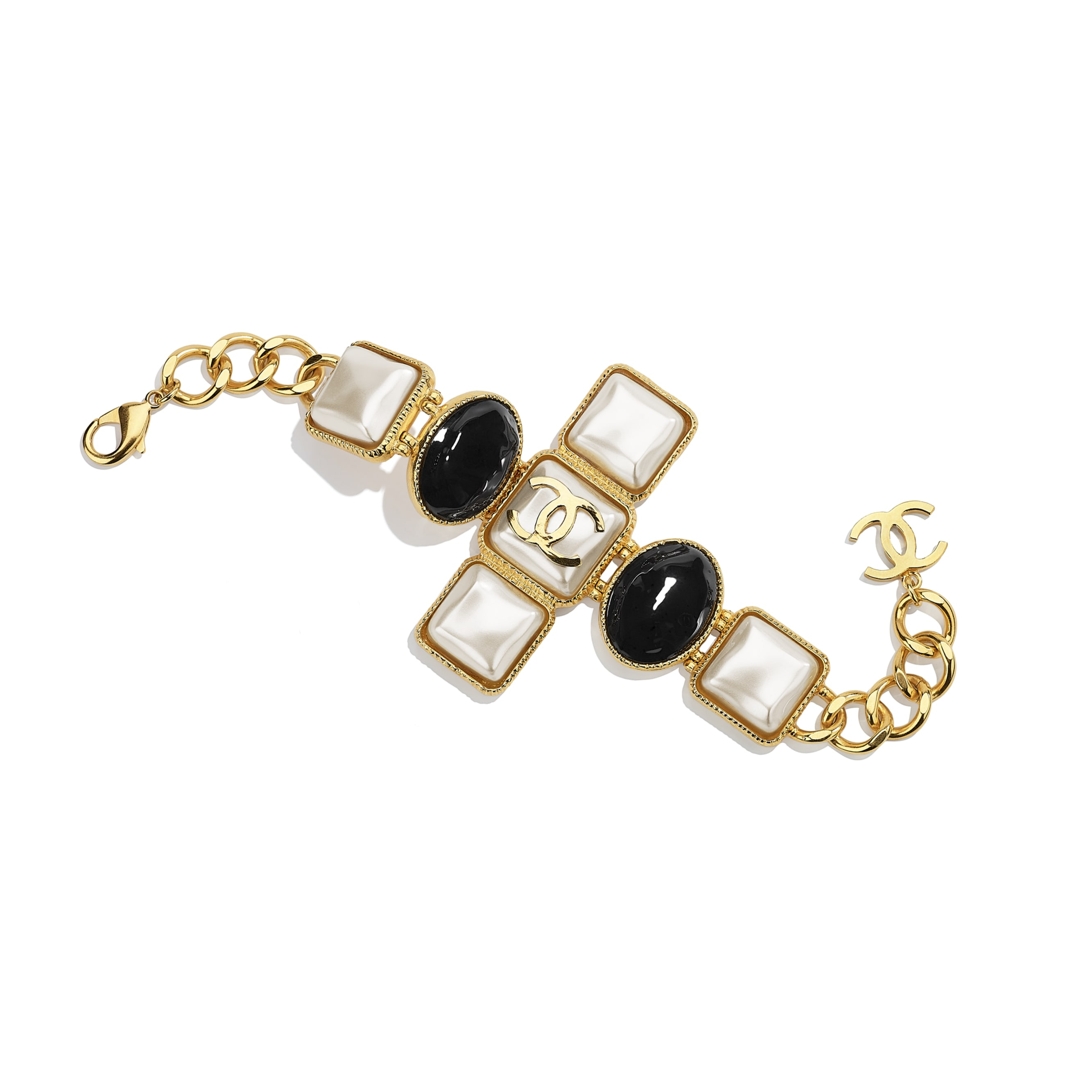Bracelet - Gold, Pearly White & Black - Metal & Resin - CHANEL - Default view - see standard sized version