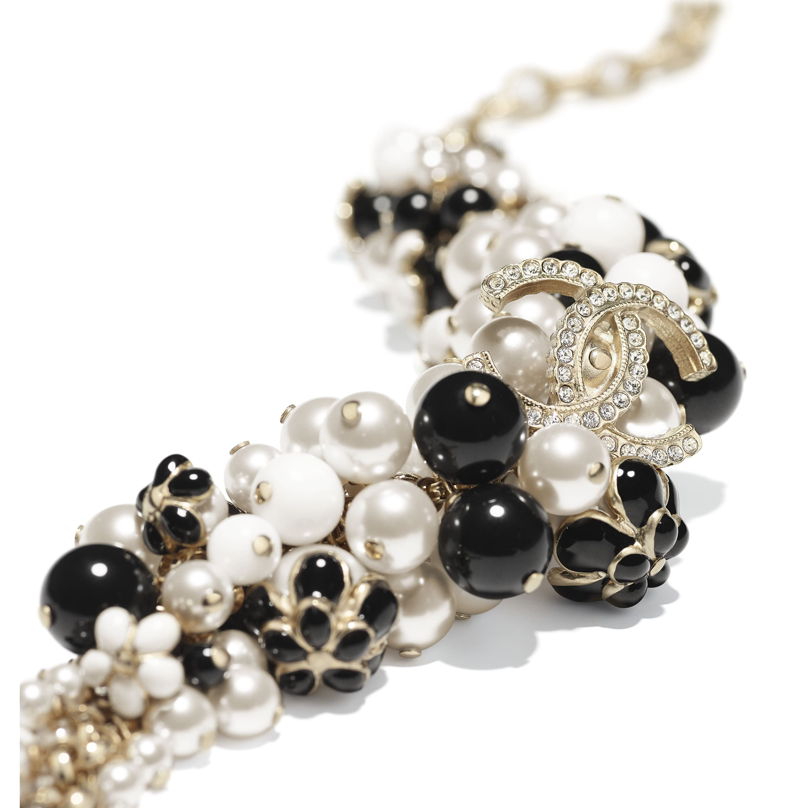 Bracelet - Gold, Pearly White, Crystal, Black & White - Metal, Glass Pearls, Diamanté & Resin - CHANEL - Alternative view - see standard sized version