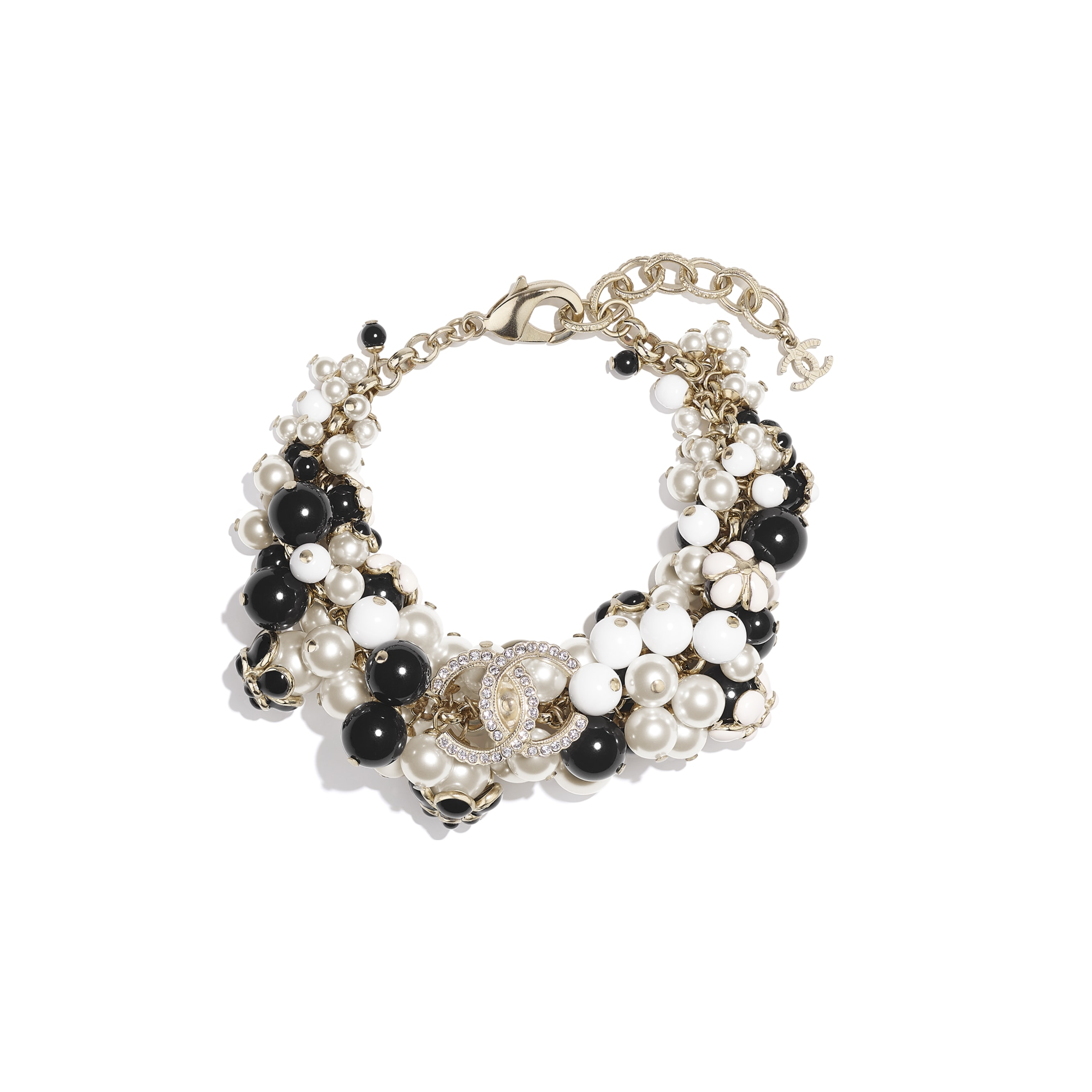 Bracelet - Gold, Pearly White, Crystal, Black & White - Metal, Glass Pearls, Diamanté & Resin - CHANEL - Default view - see standard sized version