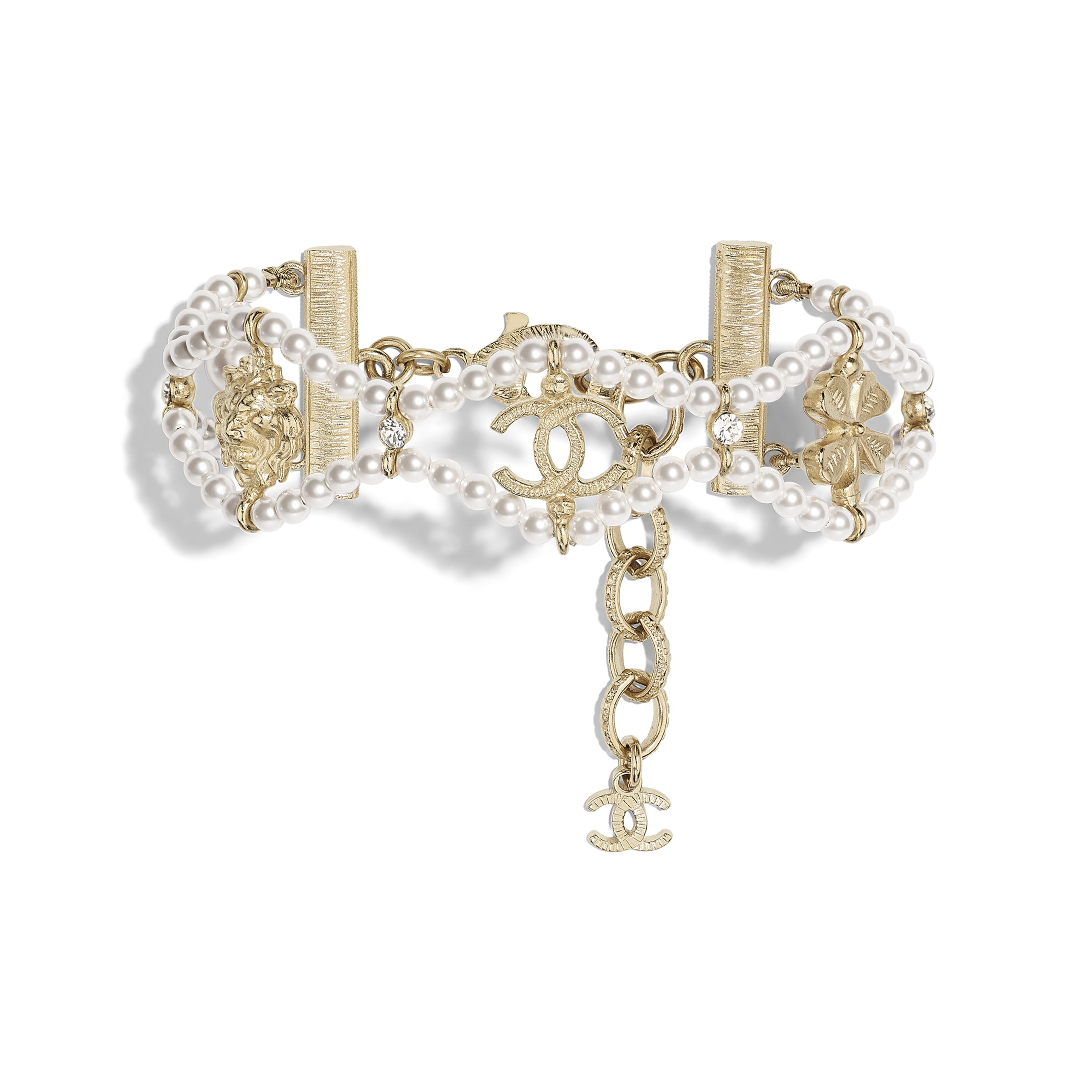 Bracelet - Gold, Pearly White & Crystal - Metal, Glass Pearls & Diamantés - Default view - see standard sized version