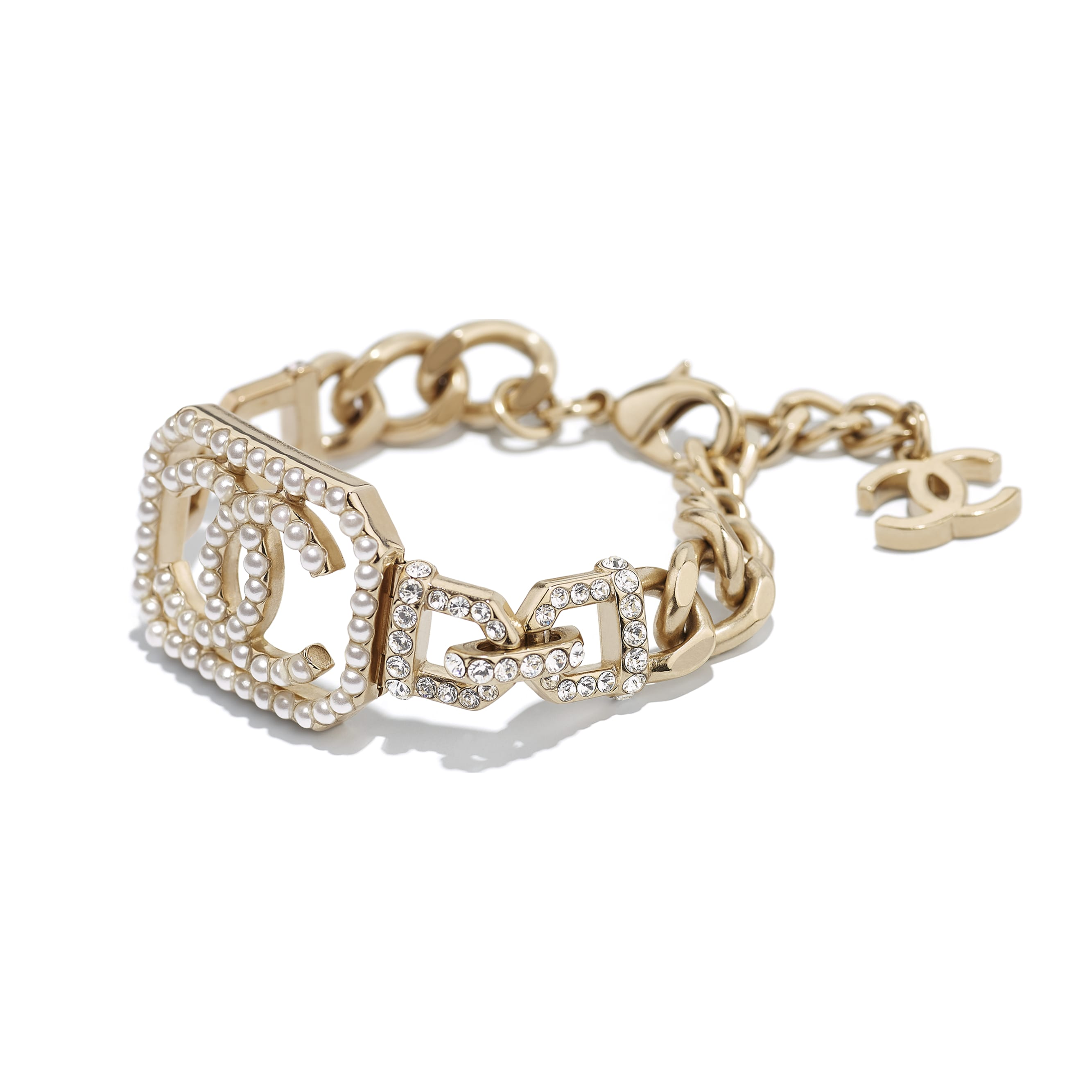Bracelet - Gold, Pearly White & Crystal - Metal, Imitation Pearls & Diamanté - CHANEL - Alternative view - see standard sized version