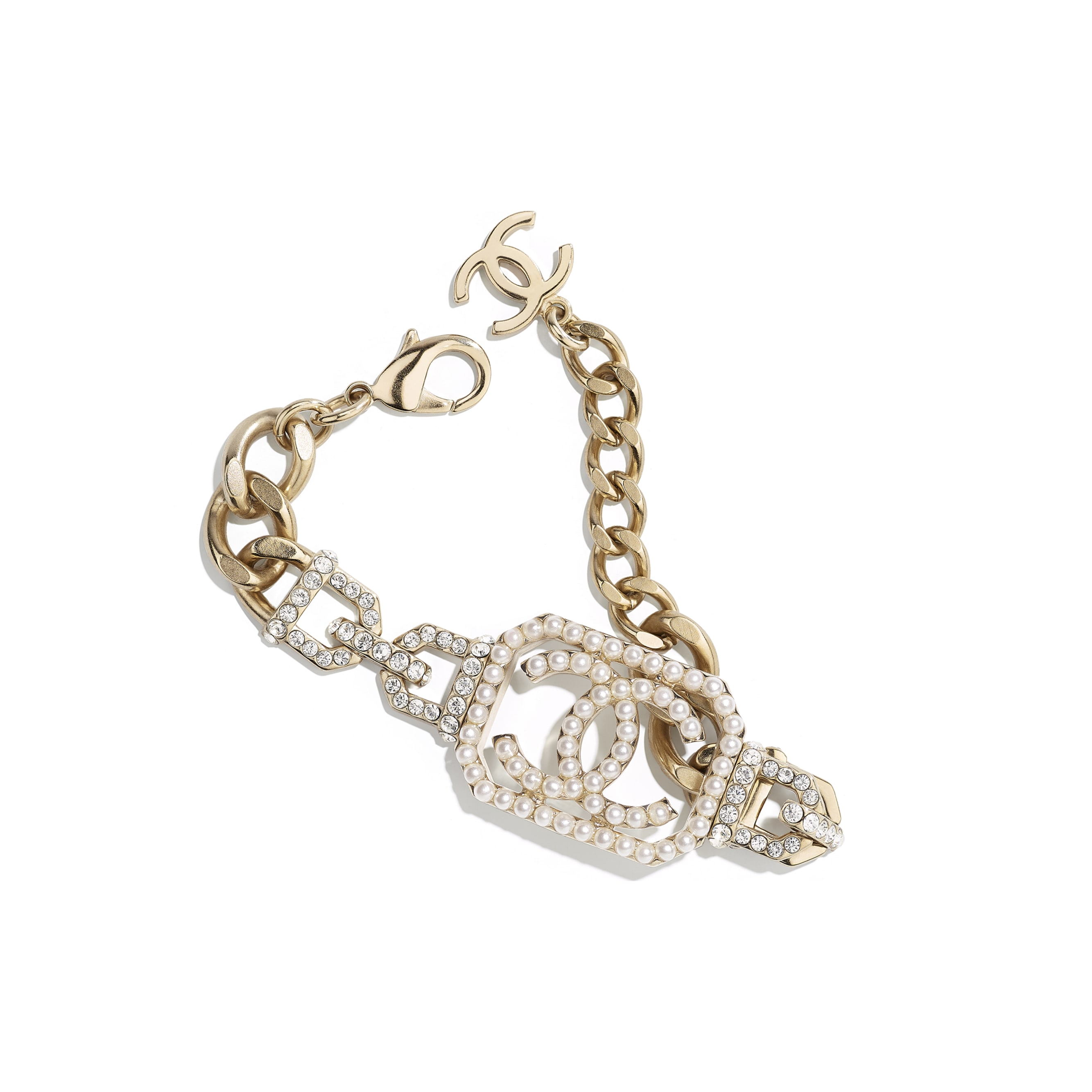 Bracelet - Gold, Pearly White & Crystal - Metal, Imitation Pearls & Diamanté - Default view - see standard sized version