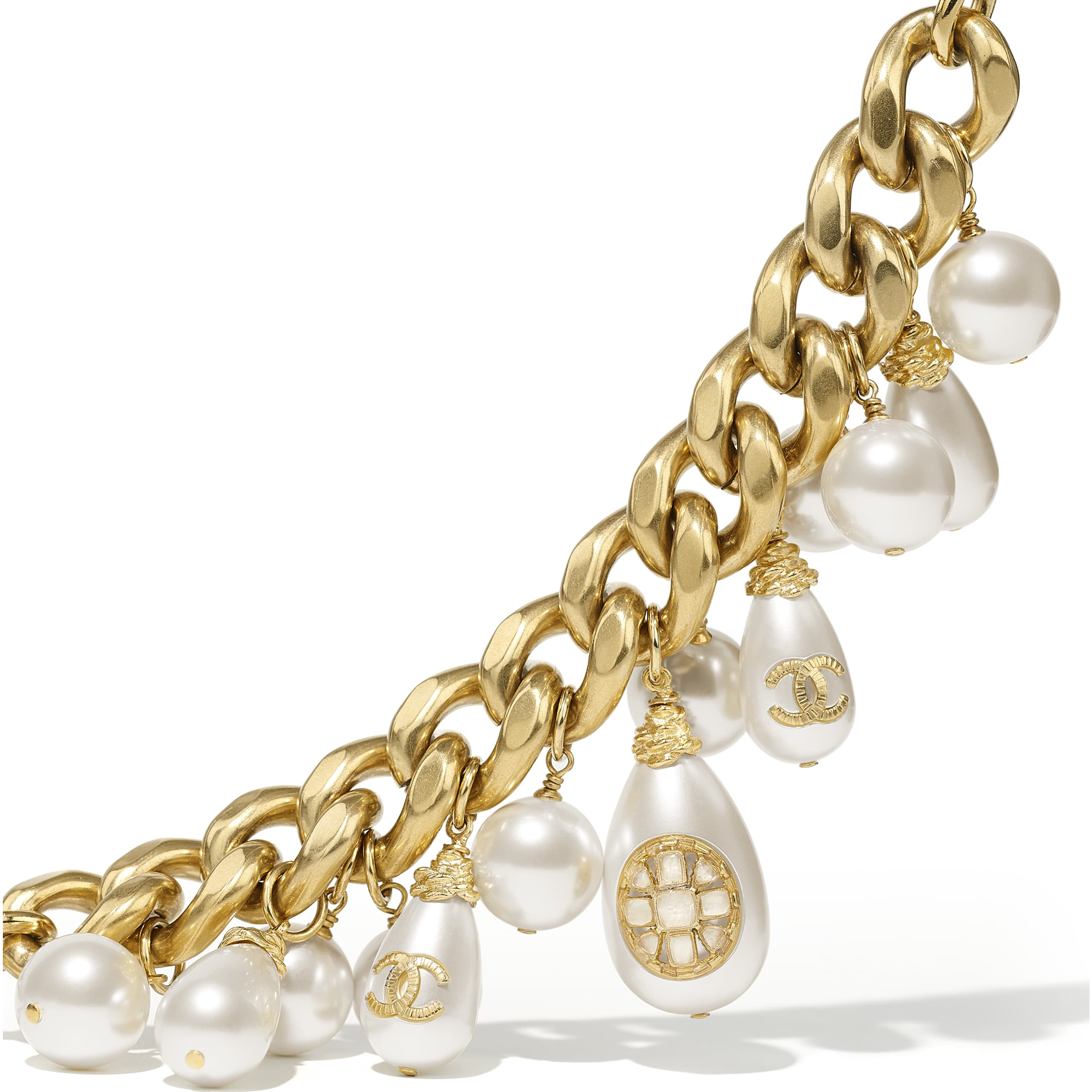 Bracelet - Gold & Pearly White - Metal, Glass Pearls, Imitation Pearls & Resin - CHANEL - Alternative view - see standard sized version