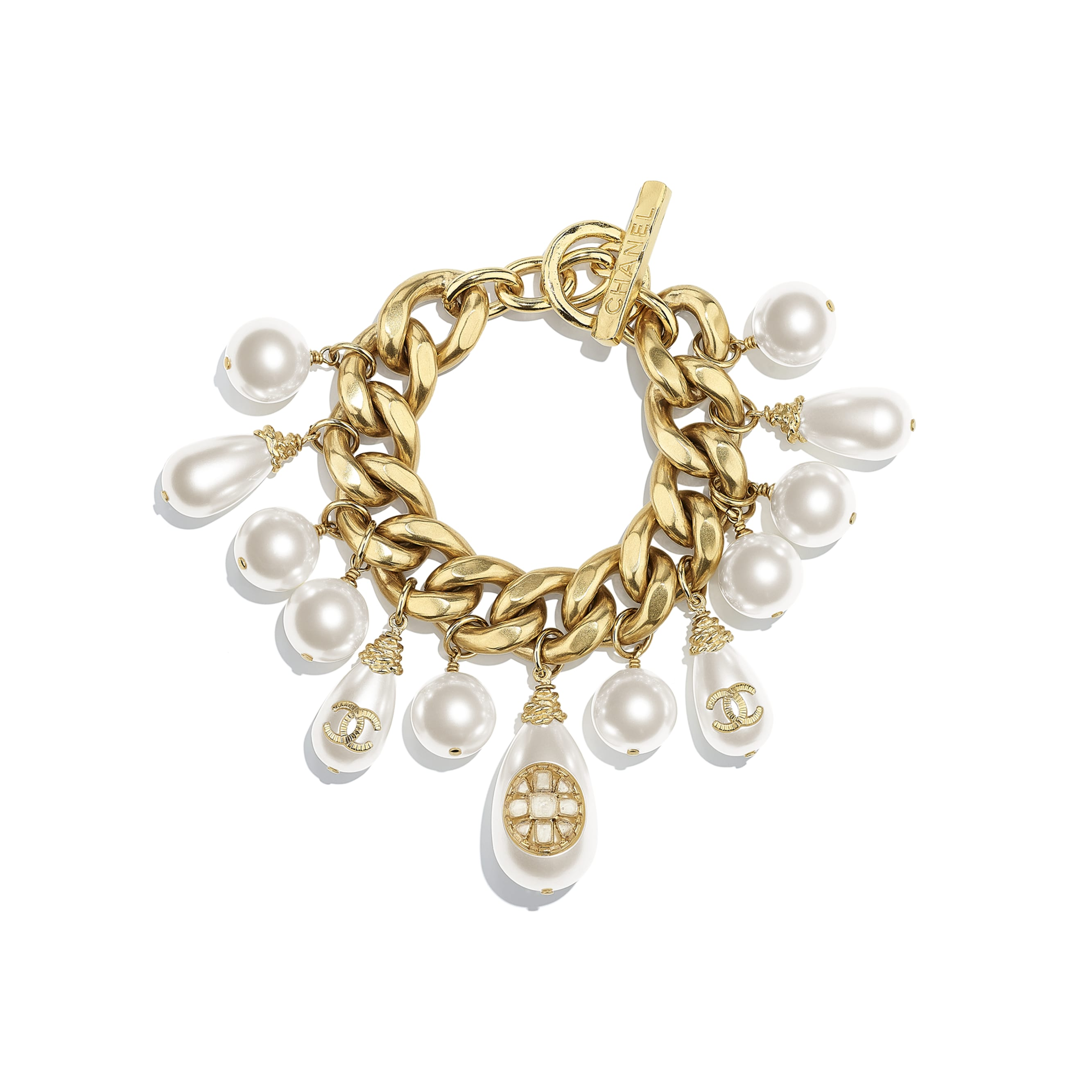 Bracelet - Gold & Pearly White - Metal, Glass Pearls, Imitation Pearls & Resin - CHANEL - Default view - see standard sized version