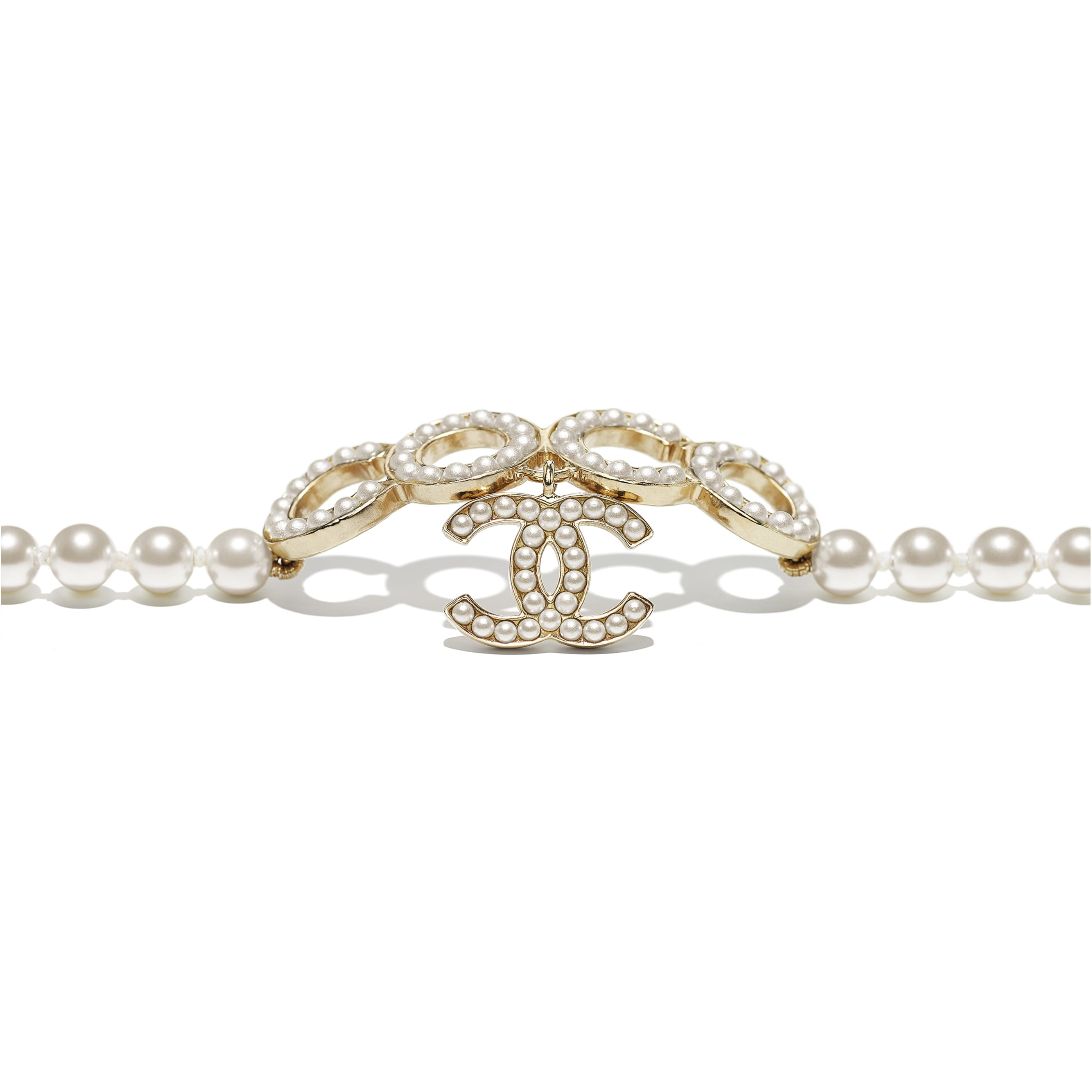 Bracelet - Gold & Pearly White - Metal & Glass Pearls - CHANEL - Alternative view - see standard sized version