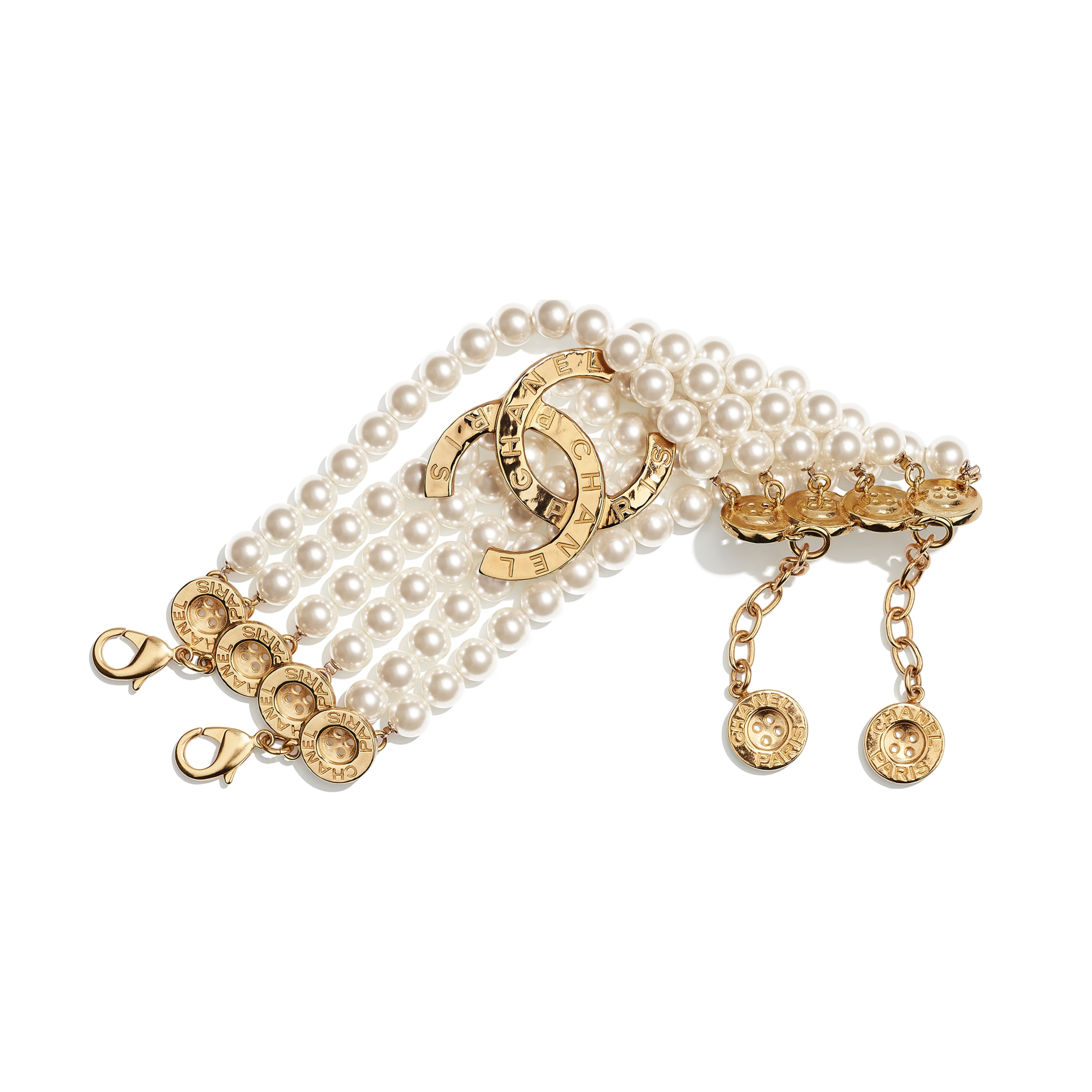 Bracelet - Gold & Pearly White - Metal & Glass Pearls - CHANEL - Default view - see standard sized version